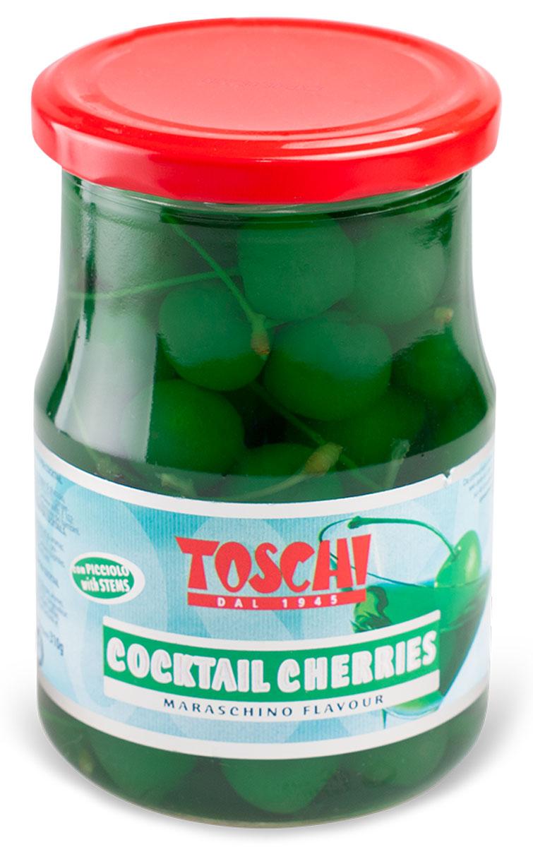 Toschi Черешня зеленая для коктейля, 630 г0120710Коктейльная черешня поставляется в двух вариантах: красный и зеленый. Ягоды с частью стебля сохранены неповреждёнными в сиропе с ароматом оригинальной вишни Maraschino.