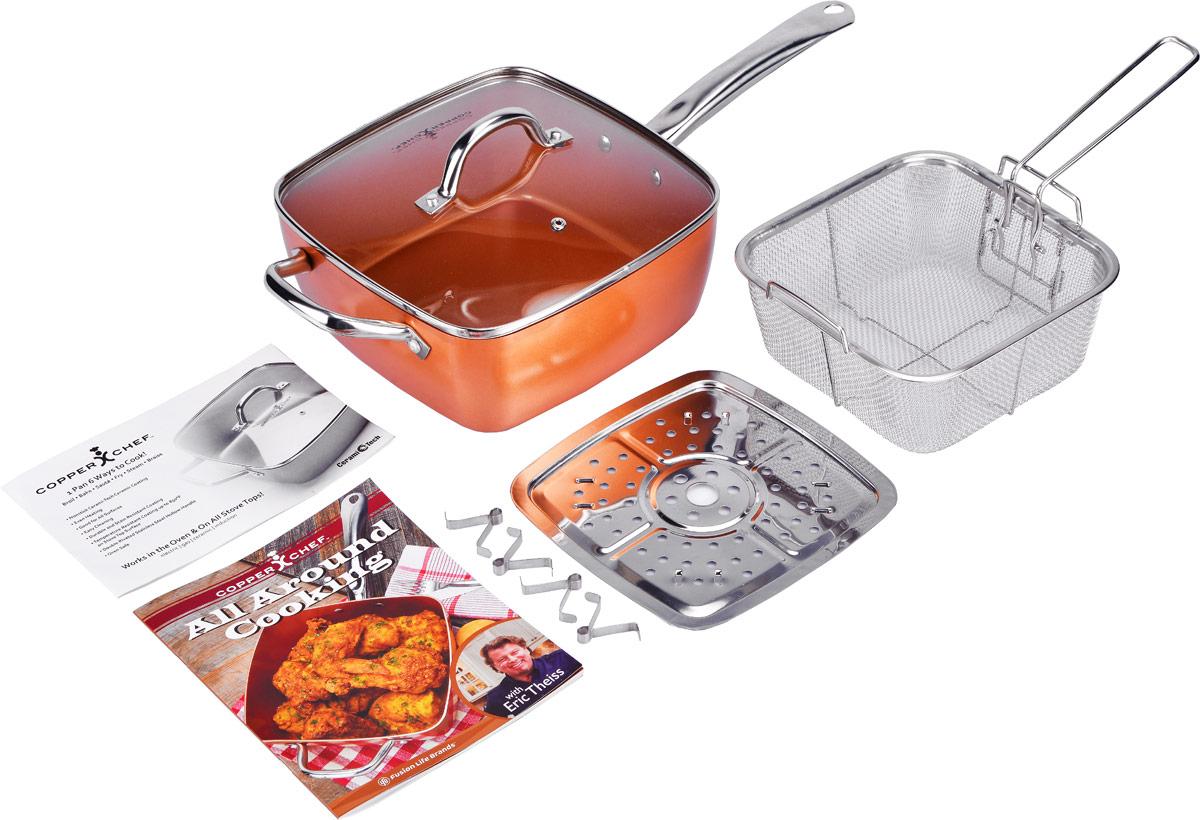 Сотейник Copper Chef с крышкой, с керамическим покрытием, с корзиной, с поддоном, с рецептами, 24 х 24 см68/5/4Сотейник Copper Chef изготовлен из высококачественного алюминия с антипригарным керамическим покрытием. Благодаря керамическому покрытию пища не пригорает и не прилипает к поверхности сотейника, что позволяет готовить с минимальным количеством масла. Кроме того, такое покрытие абсолютно безопасно для здоровья человека. Достоинства керамического покрытия: - устойчивость к высоким температурам и резким перепадам температур;- устойчивость к коррозии; - водоотталкивающий эффект; - покрытие способствует испарению воды во время готовки; - длительный срок службы; - безопасность для окружающей среды и человека. Изделие оснащено полыми ручками из нержавеющей стали и стеклянной крышкой с ручкой и отверстием для выхода пара. В комплект входят корзина для фритюра с ручкой и поддоном для варки на пару с ножками. Изделия выполнены из нержавеющей стали. А также входит буклет с рецептами. Сотейник подходит для использования на газовых, электрических, стеклокерамических плитах, а также на индукционных. Пригоден - для духовки без использования крышки. Можно мыть в посудомоечной машине. Эксклюзивный американский бренд Copper Chef, впервые вышедший на российский рынок! При изготовлении посуды используется высокопрочное керамическое антипригарное покрытие, которое является самой современной технологией в сфере изготовления керамических покрытий. Посуда Copper Chef подойдет как шеф-повару пятизвездочного ресторана, так и простому любителю благодаря дизайну, безупречному качеству и доступной цене.Размер сотейника по верхнему краю: 24 х 24 см.Размер дна: 20,5 х 20,5 см. Высота стенки сотейника: 9,5 см. Толщина сотейника: 2,5 мм. Длина ручки: 20 см. Размер корзины для фритюра (без учета ручек): 20 х 20 х 8,7 см. Длина ручки корзины для фритюра: 14,5 см. Размер поддона для варки на пару (без учета ножек): 20 х 20 см.
