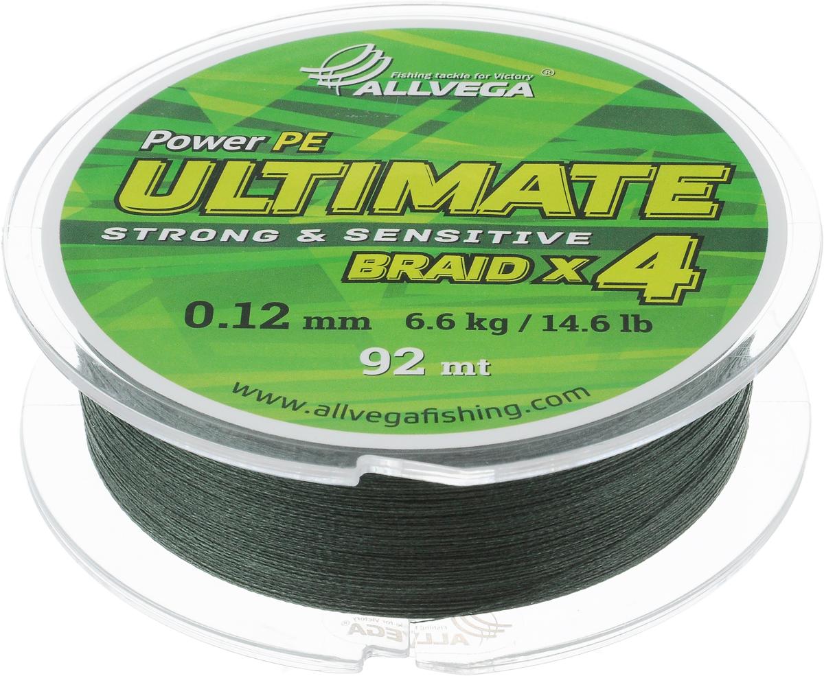 Леска плетеная Allvega Ultimate, цвет: темно-зеленый, 92 м, 0,12 мм, 6,6 кг1232675Леска Allvega Ultimate с гладкой поверхностью и одинаковым сечением по всей длине обладает высокой износостойкостью. Леска изготовлена из высокотехнологичного материала (Power РЕ) методом плетения 4 прядей, покрытых специальным полимерным составом. Основными положительными качествами лески Allvega Ultimate являются: устойчивость к внешнему воздействию и максимальная чувствительность при поклевке, что обусловлено почти нулевой растяжимостью. Данные показатели крайне важны при ловле на бровках и в корягах. А круглая и гладкая поверхность лески обеспечивает ровную и плотную укладку на шпуле катушки, что позволяет делать дальний и точный заброс, делая леску универсальной для ловли любым видом спиннинга. Леску Allvega Ultimate можно применять в любых типах водоемов. Особенности:повышенная износостойкость;высокая чувствительность - коэффициент растяжения близок к нулю; идеально гладкая поверхность позволяет увеличить дальность забросов; высокая прочность шнура на узлах.