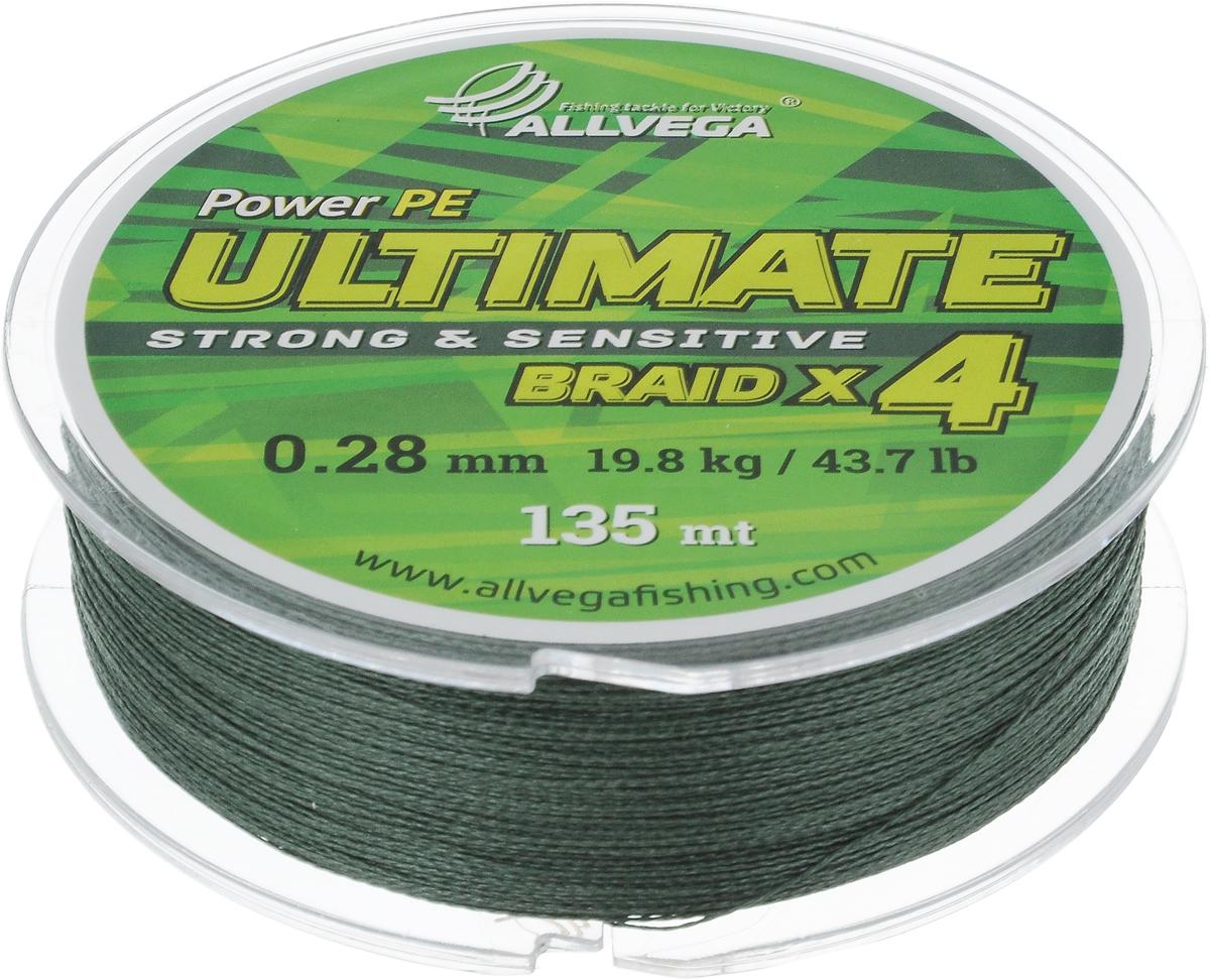 Леска плетеная Allvega Ultimate, цвет: темно-зеленый, 135 м, 0,28 мм, 19,8 кг59279Леска Allvega Ultimate с гладкой поверхностью и одинаковым сечением по всей длине обладает высокой износостойкостью. Леска изготовлена из высокотехнологичного материала (Power РЕ) методом плетения 4 прядей, покрытых специальным полимерным составом. Основными положительными качествами лески Allvega Ultimate являются: устойчивость к внешнему воздействию и максимальная чувствительность при поклевке, что обусловлено почти нулевой растяжимостью. Данные показатели крайне важны при ловле на бровках и в корягах. А круглая и гладкая поверхность лески обеспечивает ровную и плотную укладку на шпуле катушки, что позволяет делать дальний и точный заброс, делая леску универсальной для ловли любым видом спиннинга. Леску Allvega Ultimate можно применять в любых типах водоемов. Особенности:повышенная износостойкость;высокая чувствительность - коэффициент растяжения близок к нулю; идеально гладкая поверхность позволяет увеличить дальность забросов; высокая прочность шнура на узлах.