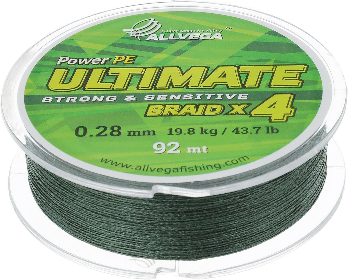 Леска плетеная Allvega Ultimate, цвет: темно-зеленый, 92 м, 0,28 мм, 19,8 кг95636-054Леска Allvega Ultimate с гладкой поверхностью и одинаковым сечением по всей длине обладает высокой износостойкостью. Леска изготовлена из высокотехнологичного материала (Power РЕ) методом плетения 4 прядей, покрытых специальным полимерным составом. Основными положительными качествами лески Allvega Ultimate являются: устойчивость к внешнему воздействию и максимальная чувствительность при поклевке, что обусловлено почти нулевой растяжимостью. Данные показатели крайне важны при ловле на бровках и в корягах. А круглая и гладкая поверхность лески обеспечивает ровную и плотную укладку на шпуле катушки, что позволяет делать дальний и точный заброс, делая леску универсальной для ловли любым видом спиннинга. Леску Allvega Ultimate можно применять в любых типах водоемов. Особенности:повышенная износостойкость;высокая чувствительность - коэффициент растяжения близок к нулю; идеально гладкая поверхность позволяет увеличить дальность забросов; высокая прочность шнура на узлах.
