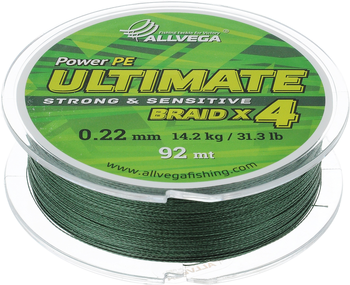 Леска плетеная Allvega  Ultimate , цвет: темно-зеленый, 92 м, 0,22 мм, 14,2 кг - Рыбалка