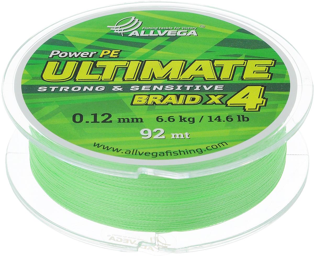 Леска плетеная Allvega Ultimate, цвет: светло-зеленый, 92 м, 0,12 мм, 6,6 кг1232721Леска Allvega Ultimate с гладкой поверхностью и одинаковым сечением по всей длине обладает высокой износостойкостью. Леска изготовлена из высокотехнологичного материала (Power РЕ) методом плетения 4 прядей, покрытых специальным полимерным составом. Основными положительными качествами лески Allvega Ultimate являются: устойчивость к внешнему воздействию и максимальная чувствительность при поклевке, что обусловлено почти нулевой растяжимостью. Данные показатели крайне важны при ловле на бровках и в корягах. А круглая и гладкая поверхность лески обеспечивает ровную и плотную укладку на шпуле катушки, что позволяет делать дальний и точный заброс, делая леску универсальной для ловли любым видом спиннинга. Леску Allvega Ultimate можно применять в любых типах водоемов. Особенности:повышенная износостойкость;высокая чувствительность - коэффициент растяжения близок к нулю; идеально гладкая поверхность позволяет увеличить дальность забросов; высокая прочность шнура на узлах.