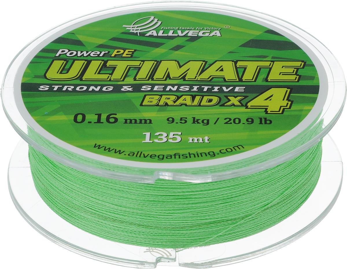 Леска плетеная Allvega Ultimate, цвет: светло-зеленый, 135 м, 0,16 мм, 9,5 кг54243Леска Allvega Ultimate с гладкой поверхностью и одинаковым сечением по всей длине обладает высокой износостойкостью. Леска изготовлена из высокотехнологичного материала (Power РЕ) методом плетения 4 прядей, покрытых специальным полимерным составом. Основными положительными качествами лески Allvega Ultimate являются: устойчивость к внешнему воздействию и максимальная чувствительность при поклевке, что обусловлено почти нулевой растяжимостью. Данные показатели крайне важны при ловле на бровках и в корягах. А круглая и гладкая поверхность лески обеспечивает ровную и плотную укладку на шпуле катушки, что позволяет делать дальний и точный заброс, делая леску универсальной для ловли любым видом спиннинга. Леску Allvega Ultimate можно применять в любых типах водоемов. Особенности:повышенная износостойкость;высокая чувствительность - коэффициент растяжения близок к нулю; идеально гладкая поверхность позволяет увеличить дальность забросов; высокая прочность шнура на узлах.