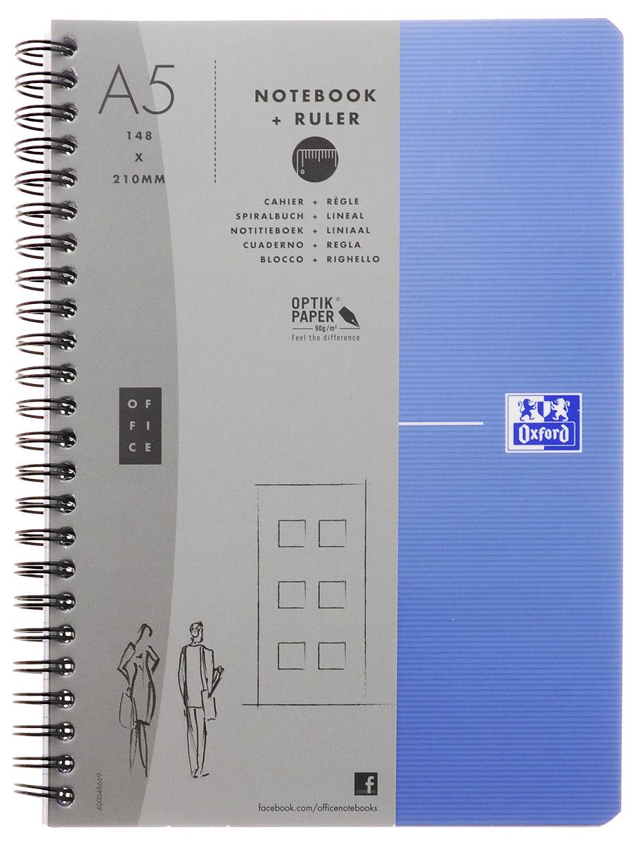Oxford Тетрадь Essentials 90 листов в клетку цвет голубой72523WDСтильная практичная тетрадь Oxford Essentials отлично подойдет для офиса и учебы. Тетрадь формата А5 состоит из 90 белых листов с четкой яркой линовкой в клетку. Обложка тетради выполнена из ламинированного картона и оформлена символом Оксфордского университета. Металлический гребень надежно удерживает листы. Также тетрадь имеет скругленные углы и гибкую съемную закладку-линейку из матового полупрозрачного пластика с изображением Рима.