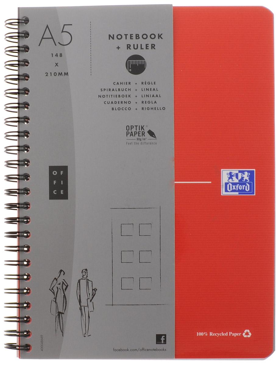Oxford Тетрадь Эко 90 листов в клетку цвет красный72523WDКрасивая и практичная тетрадь Oxford Эко отлично подойдет для школьников, студентов и офисных служащих.Обложка тетради выполнена из плотного, но гибкого картона с закругленными краями. Тетрадь формата А5 состоит из 90 белых листов на двойном гребне с линовкой в клетку. Практичное и надежное крепление на гребне позволяет отрывать листы и полностью открывать тетрадь на столе. Тетрадь дополнена съемной закладкой-линейкой из гибкого пластика и листом со справочной информацией. Вне зависимости от профессии и рода деятельности у человека часто возникает потребность сделать какие-либо заметки. Именно поэтому всегда удобно иметь эту тетрадь под рукой, особенно если вы творческая личность и постоянно генерируете новые идеи.