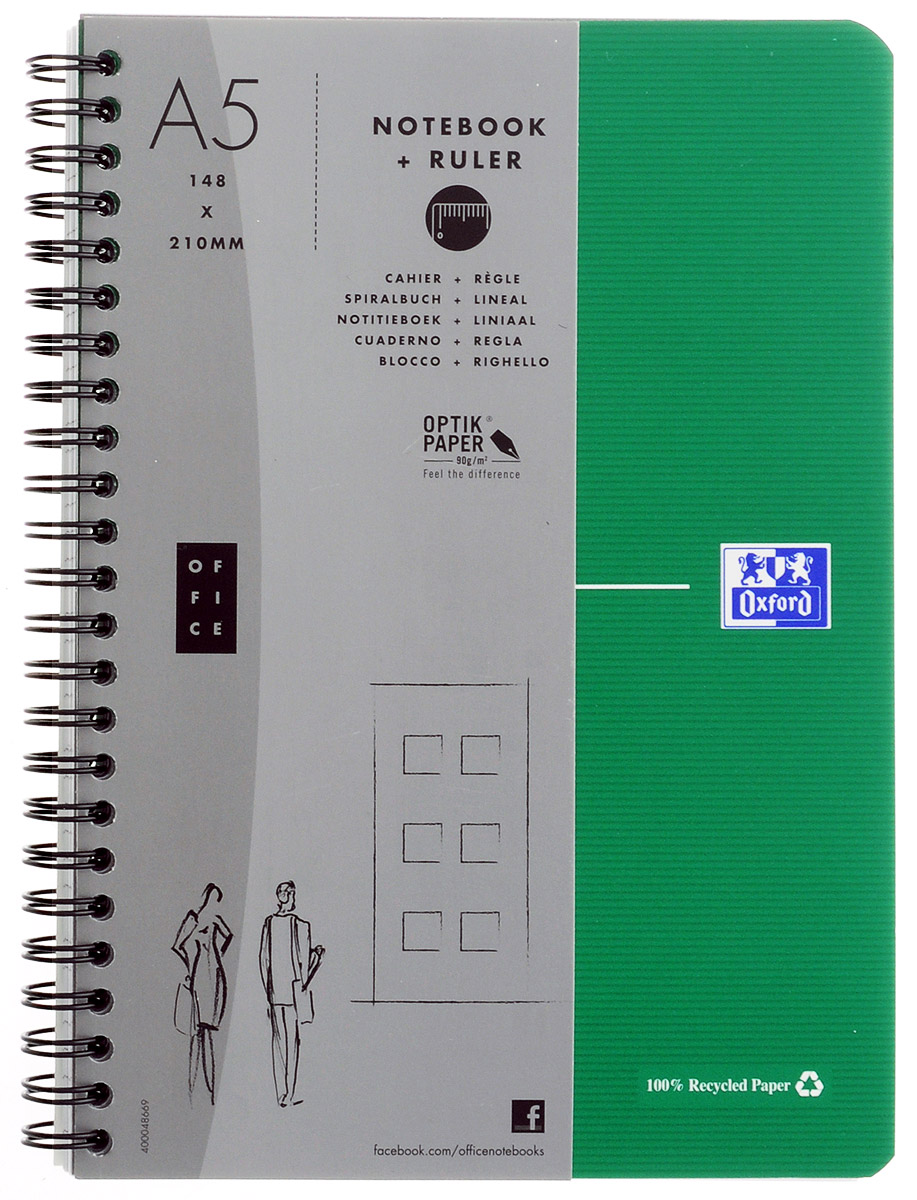 Oxford Тетрадь Эко 90 листов в клетку цвет зеленый72523WDКрасивая и практичная тетрадь Oxford Эко отлично подойдет для школьников, студентов и офисных служащих.Обложка тетради выполнена из плотного, но гибкого картона с закругленными краями. Тетрадь формата А5 состоит из 90 белых листов на двойном гребне с линовкой в клетку. Практичное и надежное крепление на гребне позволяет отрывать листы и полностью открывать тетрадь на столе. Тетрадь дополнена съемной закладкой-линейкой из гибкого пластика и листом со справочной информацией. Вне зависимости от профессии и рода деятельности у человека часто возникает потребность сделать какие-либо заметки. Именно поэтому всегда удобно иметь эту тетрадь под рукой, особенно если вы творческая личность и постоянно генерируете новые идеи.