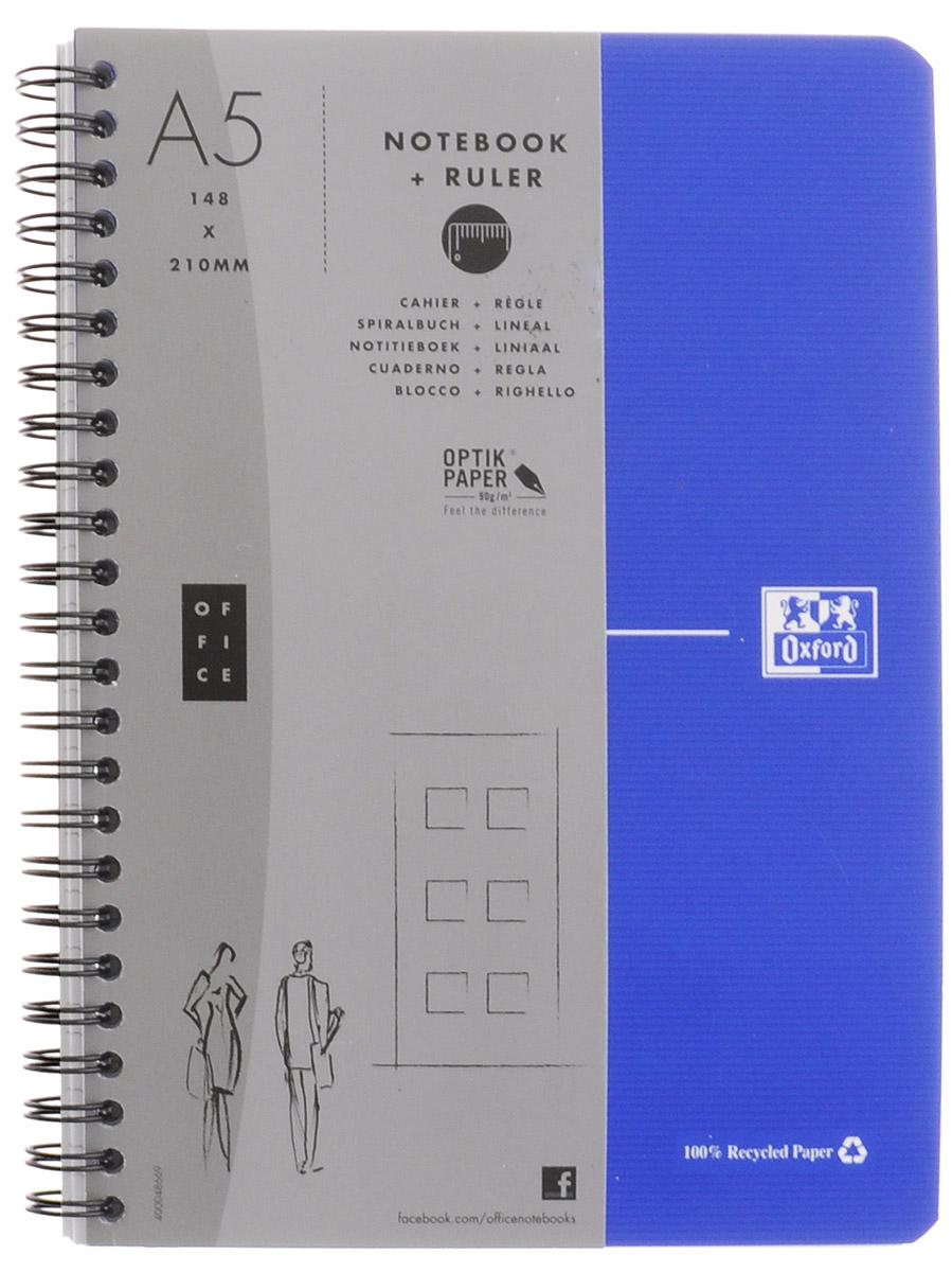Oxford Тетрадь Эко 90 листов в клетку цвет синий72523WDКрасивая и практичная тетрадь Oxford Эко отлично подойдет для школьников, студентов и офисных служащих.Обложка тетради выполнена из плотного, но гибкого картона с закругленными краями. Тетрадь формата А5 состоит из 90 белых листов на двойном гребне с линовкой в клетку. Практичное и надежное крепление на гребне позволяет отрывать листы и полностью открывать тетрадь на столе. Тетрадь дополнена съемной закладкой-линейкой из гибкого пластика и листом со справочной информацией. Вне зависимости от профессии и рода деятельности у человека часто возникает потребность сделать какие-либо заметки. Именно поэтому всегда удобно иметь эту тетрадь под рукой, особенно если вы творческая личность и постоянно генерируете новые идеи.