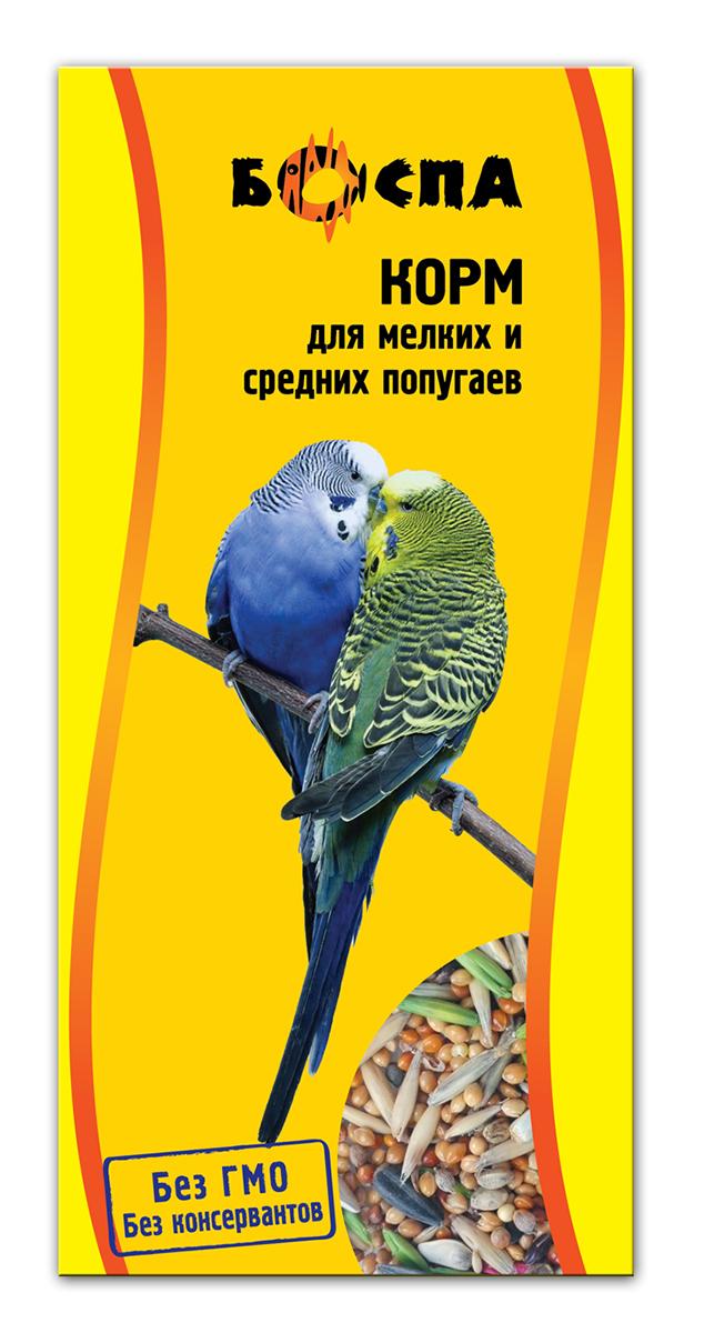 Корм для мелких и средних попугаев Боспа, 500 г0120710Корм для мелких и средних попугаев Боспа - вкусный, но сбалансированный полезный корм, который обеспечит им получение всех жизненно важных питательных веществ. Идеальным с этой точки зрения является сбалансированный корм сухой Боспа, который разрабатывался для данной группы домашних любимцев. Его регулярное употребление имеет массу достоинств, так как питомцы получают необходимую энергию через полноценное питание, становятся веселыми и игривыми и радуют хозяев здоровой и блестящей шерстью.Состав: просо белое, просо красное, овес, семена подсолнечника, семена суданки, канареечное семя, сафлор, витамины А, В1, В2, В6, D, PP, йод в легкоусвояемой форме.