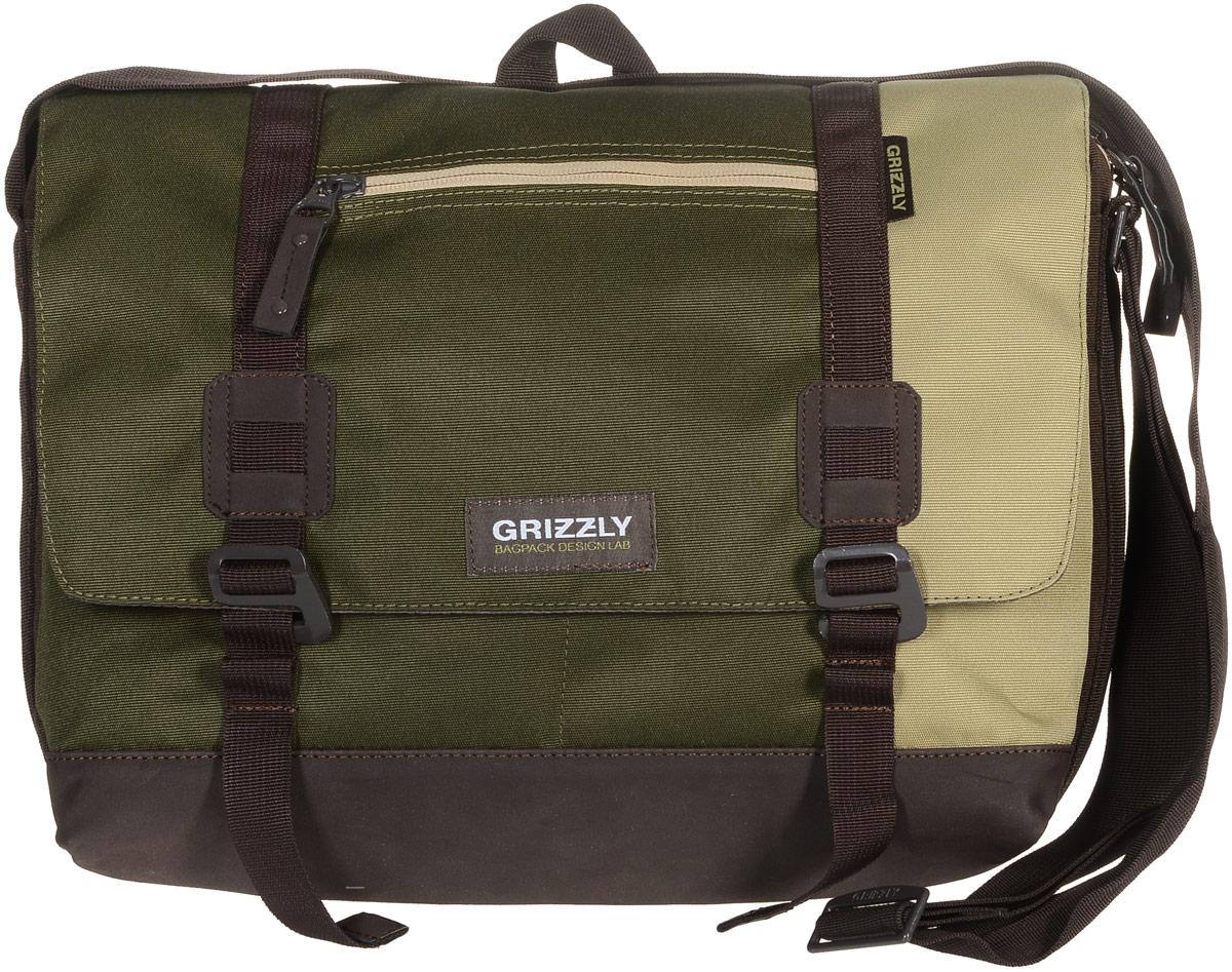 Сумка молодежная Grizzly, цвет: песочный, хаки, коричневый, 14 л. ММ-619-3/3101225Молодежная сумка Grizzly изготовлена из высококачественного плотного текстиля. Дно уплотнено материалом из экокожи. Сумка имеет одно отделение, которое закрывается на клапан с застежками-крючками, регулируемыми по высоте, и застежку-молнию. Внутри сумки расположен карман для ноутбука или планшета, а также вшитый карман на застежке-молнии.Снаружи, с фронтальной стороны сумки есть один прорезной карман на застежке-молнии и два открытых кармашка. На клапане также располагается прорезной карман на застежке-молнии, и с тыльной стороны - боковой карман на застежке-молнии. Изделие оснащено дополнительной ручкой-петлей и регулируемым плечевым ремнем.Самовыражение - одна из базовых потребностей современного человека. Оригинальные, яркие, остромодные рюкзаки от Grizzly наилучшим образом подчеркнут вашу креативность, индивидуальность и неповторимый стиль!