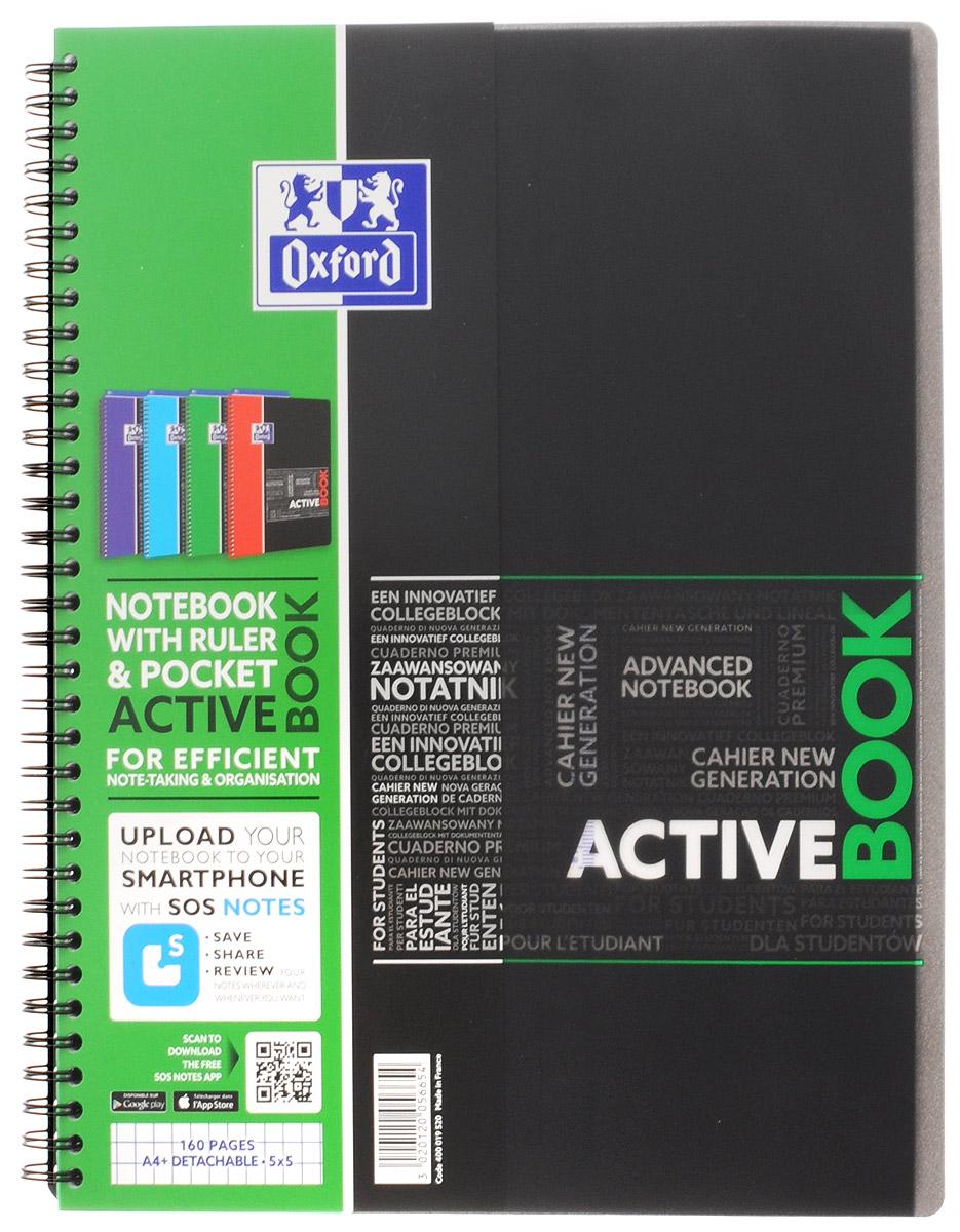 Oxford Тетрадь Sos Notes Activebook 80 листов в клетку цвет зеленый38010_ОленьКрасивая и практичная тетрадь Oxford Sos Notes Activebook отлично подойдет для школьников, студентов и офисных служащих.Тетрадь формата А4+ состоит из 80 листов белой бумаги с четкой яркой линовкой в клетку. Обложка тетради выполнена из плотного но гибкого полипропилена с закругленными уголками.Благодаря специальным меткам на каждой странице и бесплатному приложению SOS Notes для вашего телефона или планшета, вы сможете всегда легко перенести ваши записи и зарисовки с бумажной страницы в смартфон или на компьютер.Это прекрасное сочетание тетради и органайзера, так как включает в себя внутренний кармашек для хранения документов и закладку-линейку со справочной информацией.