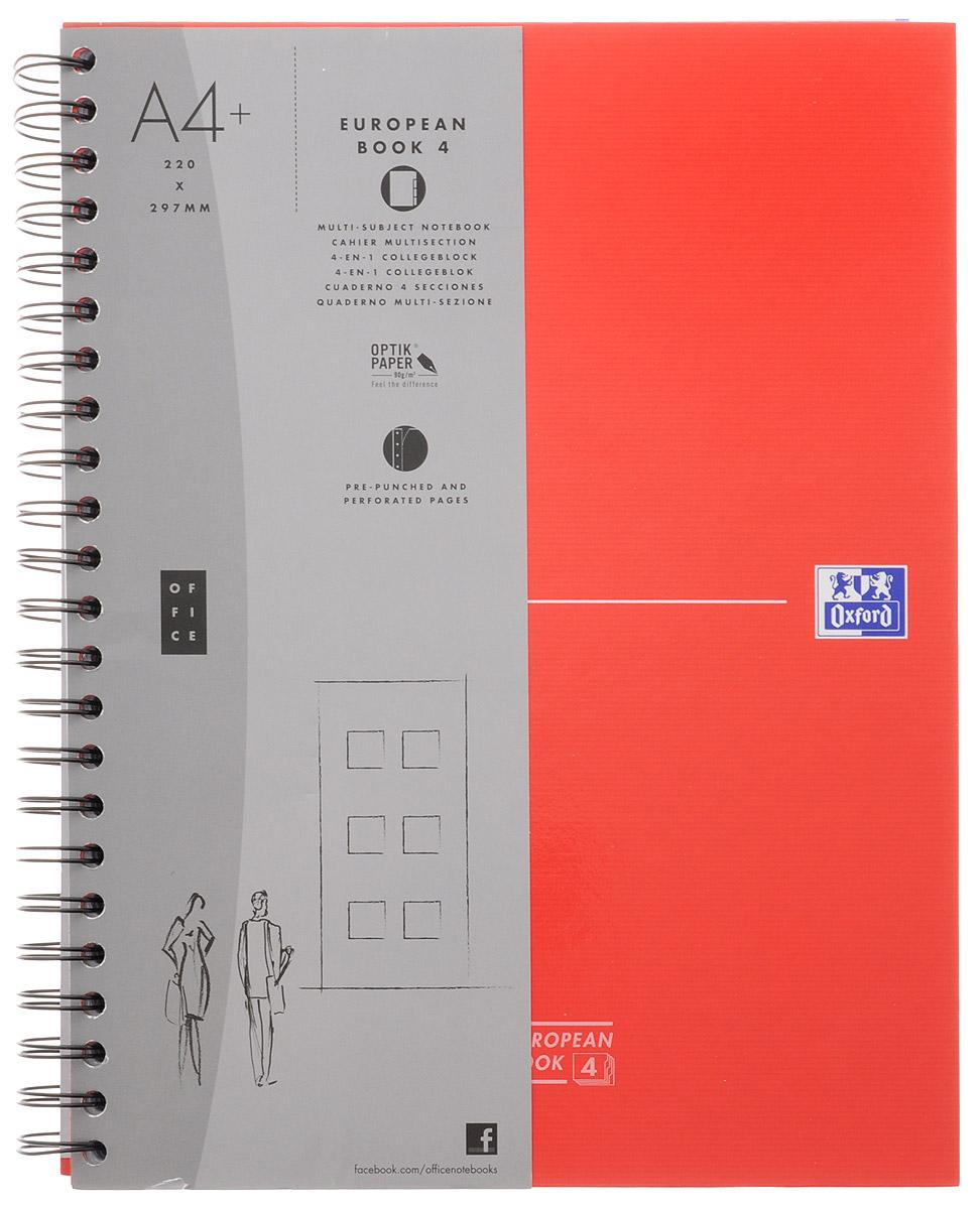 Oxford Тетрадь Officе European Book 120 листов в клетку цвет красный06234/455199Красивая и практичная тетрадь Oxford Officе European Book отлично подойдет для школьников, студентов и офисных служащих. Тетрадь формата А4+ состоит из 120 белых листов с четкой линовкой в клетку. Обложка тетради выполнена из жесткого ламинированного картона, благодаря чему все ваши записи и заметки всегда будут в сохранности. Листы крепятся на двойной металлический гребень. На каждом листе есть возможность проставления даты, номера страницы или записи темы.Тетрадь состоит из 4 разделов с цветными пластиковыми разделителями. Разделители можно легко вынуть или переставить благодаря удобному креплению на гребне. В тетради предусмотрена страница снабженная карманом из плотного картона для хранения листов.