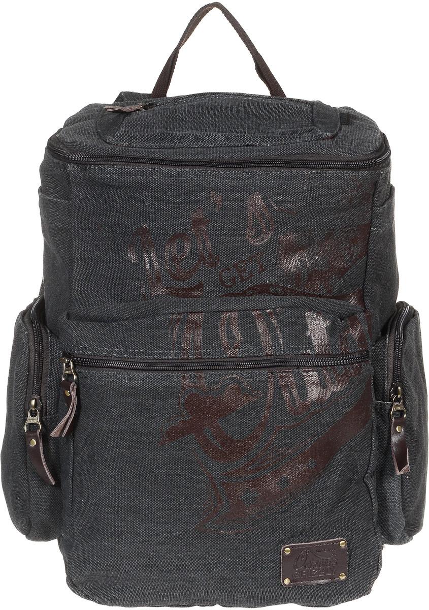 Рюкзак молодежный Grizzly, цвет: серый, 30 л. RU-702-1/2Z90 blackМолодежный рюкзак Grizzly изготовлен из высококачественного брезента. Рюкзак имеет одно основное отделение, закрывающееся клапаном на круговую застежку-молнию с двумя бегунками. Внутри расположен укрепленный карман для ноутбука на липучке, составной пенал-органайзер, который включает в себя: три открытых кармашка для канцелярских принадлежностей и сетчатый карман на застежке-молнии,Снаружи, с фронтальной стороны рюкзака есть объемный карман на застежке-молнии. По бокам рюкзака располагаются два объемных кармана на застежках-молниях и два накладных кармана на липучках. Также на клапане рюкзака имеется дополнительный карман на застежке-молнии и карман на спинке с застежкой-молнией. Изделие оснащено укрепленной спинкой, укрепленными лямками, регулируемыми по длине и дополнительной ручкой-петлей.Самовыражение - одна из базовых потребностей современного человека. Оригинальные, яркие, остромодные рюкзаки от Grizzly наилучшим образом подчеркнут вашу креативность, индивидуальность и неповторимый стиль!