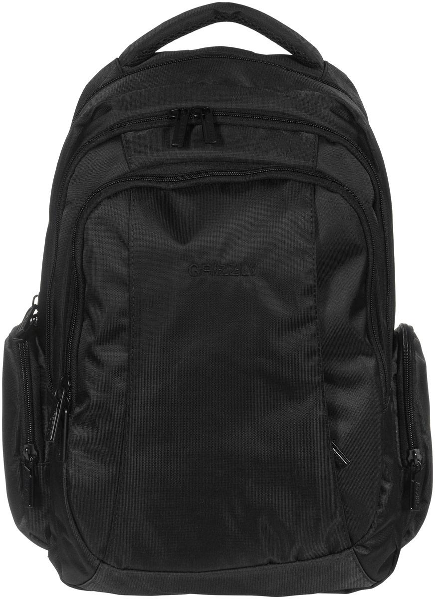 Рюкзак молодежный Grizzly, цвет: черный, 32 л. RU-700-2/1ГризлиМолодежный рюкзак выполнен из высококачественного нейлона. В рюкзаке расположены три отделения,закрывающиеся на круговые застежки-молнии с двумя бегунками. В первом отделении расположен составной пенал-органайзер, в который входят: три отрытых кармашка для канцелярских принадлежностей и сетчатый карман на застежке-молнии. В третьем отделении расположен мягкий укрепленный карман для планшета, закрывающийся на липучку и прорезной карман на застежке-молнии. Снаружи, с фронтальной стороны есть большой карман на застежке-молнии, два объемных кармана на круговых застежках-молниях по бокам. Изделие оснащено ортопедической спинкой, укрепленными анатомическими лямками, которые регулируются по длине, нагрудной стяжкой-фиксатором и мягкой укрепленной ручкой.Самовыражение - одна из базовых потребностей современного человека. Оригинальные, яркие, остромодные рюкзаки от Grizzly наилучшим образом подчеркнут вашу креативность, индивидуальность и неповторимый стиль!