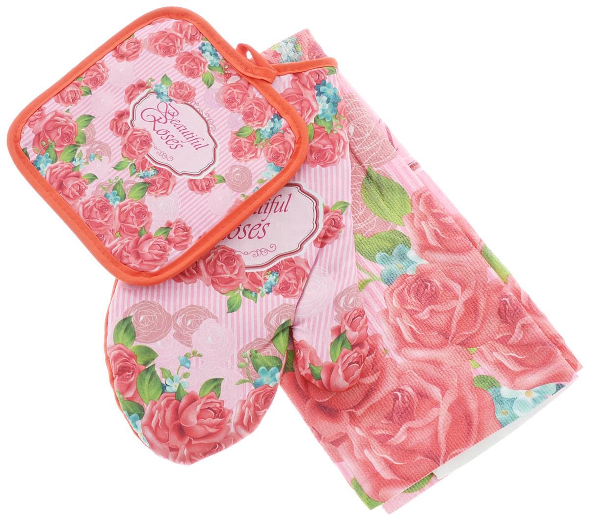 Комплект для кухни Soavita Роза, 3 предмета3152216630Кухонный комплект Soavita Роза состоит из полотенца, прихватки и прихватки-варежки. Прихватка и прихватка-варежка изготовлены из 100% полиэстера, полотенце изготовлено из 80% полиэстера и 20% полиамида. Все изделия украшены ярким рисунком цветов.Комплект идеально дополнит интерьер вашей кухни исоздаст атмосферу уюта и комфорта. Высочайшеекачество материала гарантирует безопасность не тольковзрослых, но и самых маленьких членов семьи.Размер полотенца: 38 х 63 см. Размер прихватки: 17 х 17 см. Размер прихватки-варежки: 17 х 27 см.