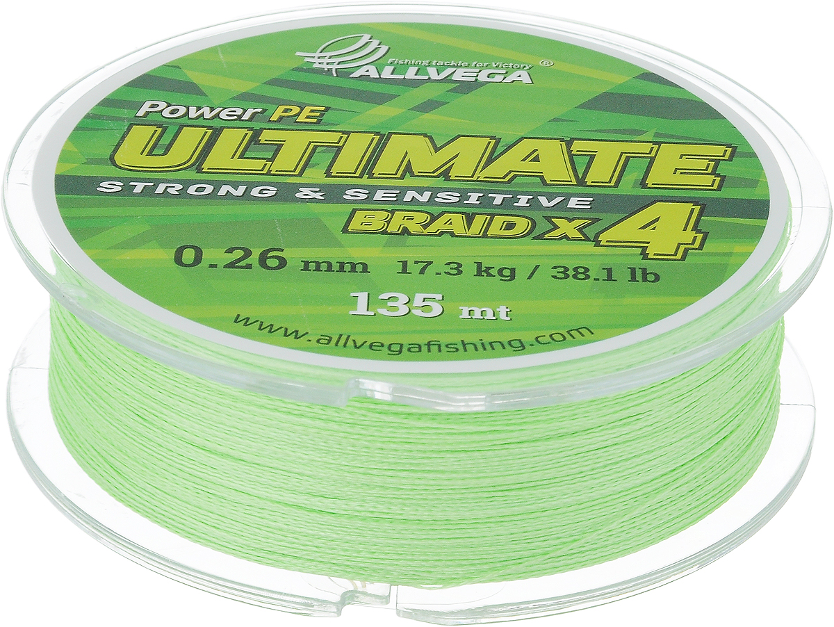 Леска плетеная Allvega Ultimate, цвет: салатовый, 135 м, 0,26 мм, 17,3 кг59289Леска Allvega Ultimate с гладкой поверхностью и одинаковым сечением по всей длине обладает высокой износостойкостью. Леска изготовлена из высокотехнологичного материала (Power РЕ) методом плетения 4 прядей, покрытых специальным полимерным составом. Основными положительными качествами лески Allvega Ultimate являются: устойчивость к внешнему воздействию и максимальная чувствительность при поклевке, что обусловлено почти нулевой растяжимостью. Данные показатели крайне важны при ловле на бровках и в корягах. А круглая и гладкая поверхность лески обеспечивает ровную и плотную укладку на шпуле катушки, что позволяет делать дальний и точный заброс, делая леску универсальной для ловли любым видом спиннинга. Леску Allvega Ultimate можно применять в любых типах водоемов. Особенности:повышенная износостойкость;высокая чувствительность - коэффициент растяжения близок к нулю; идеально гладкая поверхность позволяет увеличить дальность забросов; высокая прочность шнура на узлах.