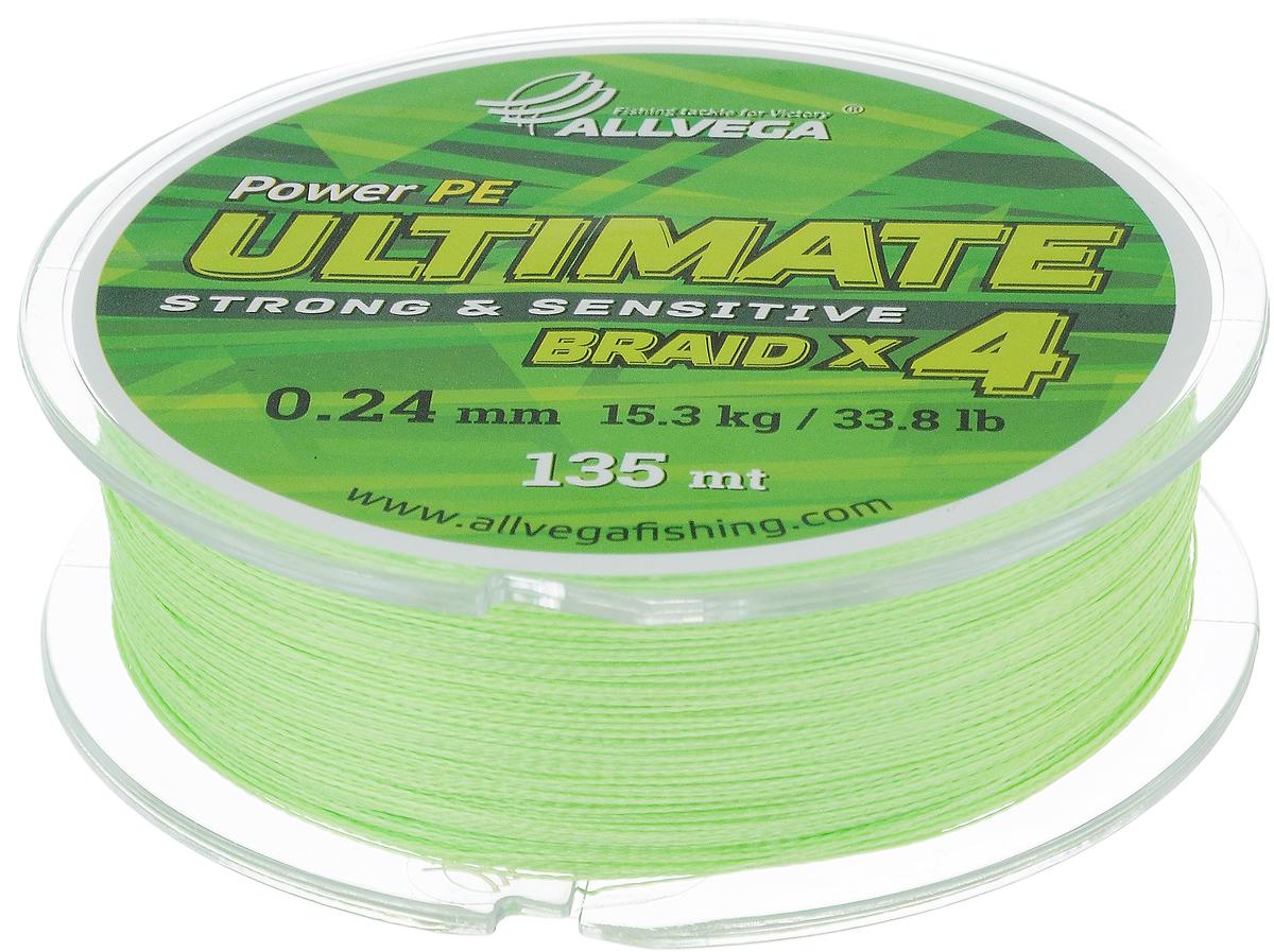 Леска плетеная Allvega Ultimate, цвет: желто-зеленый, 135 м, 0,24 мм, 15,3 кг59288Леска Allvega Ultimate с гладкой поверхностью и одинаковым сечением по всей длине обладает высокой износостойкостью. Леска изготовлена из высокотехнологичного материала (Power РЕ) методом плетения 4 прядей, покрытых специальным полимерным составом. Основными положительными качествами лески Allvega Ultimate являются: устойчивость к внешнему воздействию и максимальная чувствительность при поклевке, что обусловлено почти нулевой растяжимостью. Данные показатели крайне важны при ловле на бровках и в корягах. А круглая и гладкая поверхность лески обеспечивает ровную и плотную укладку на шпуле катушки, что позволяет делать дальний и точный заброс, делая леску универсальной для ловли любым видом спиннинга. Леску Allvega Ultimate можно применять в любых типах водоемов. Особенности:повышенная износостойкость;высокая чувствительность - коэффициент растяжения близок к нулю; идеально гладкая поверхность позволяет увеличить дальность забросов; высокая прочность шнура на узлах.