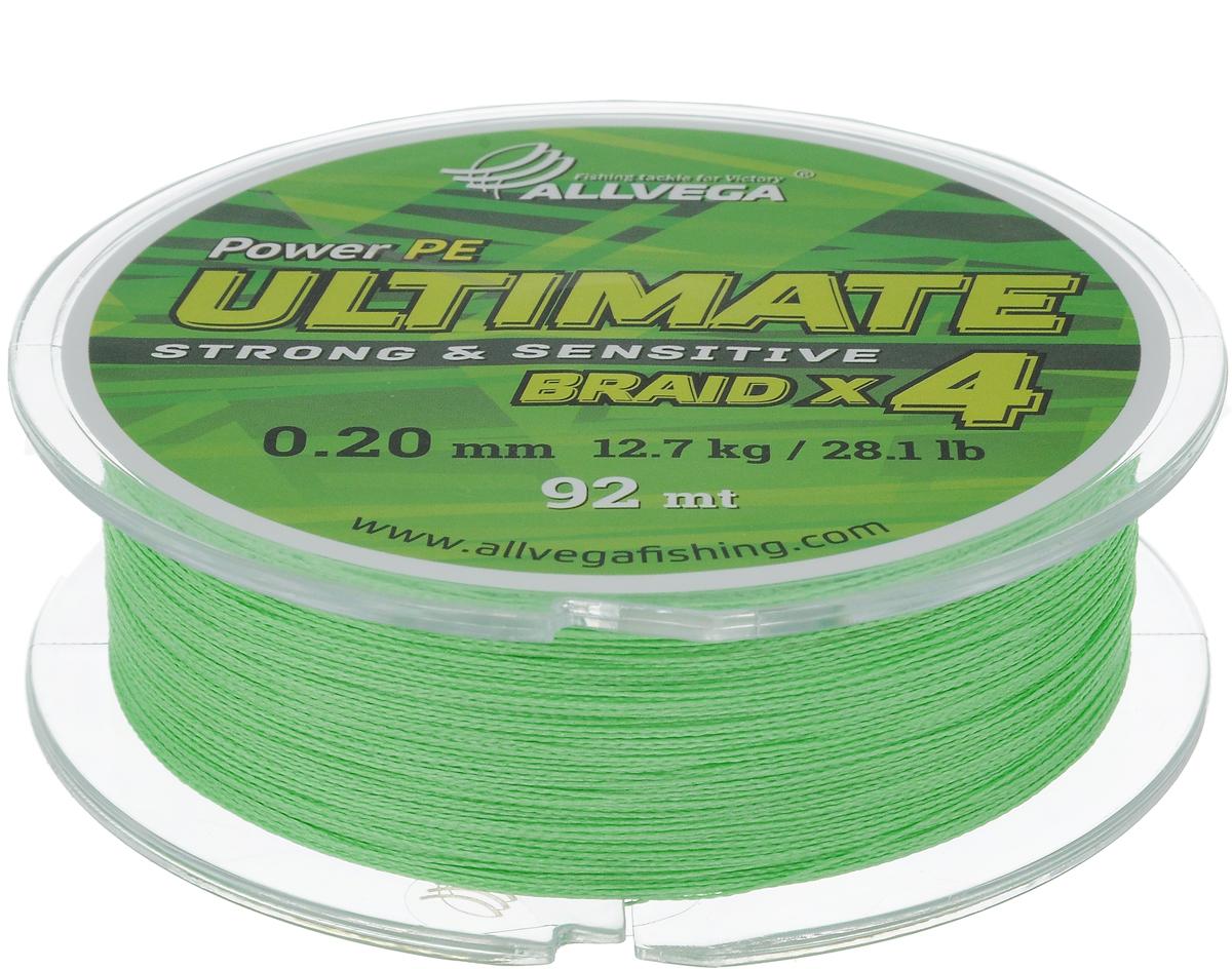 Леска плетеная Allvega Ultimate, цвет: светло-зеленый, 92 м, 0,20 мм, 12,7 кг4271825Леска Allvega Ultimate с гладкой поверхностью и одинаковым сечением по всей длине обладает высокой износостойкостью. Леска изготовлена из высокотехнологичного материала (Power РЕ) методом плетения 4 прядей, покрытых специальным полимерным составом. Основными положительными качествами лески Allvega Ultimate являются: устойчивость к внешнему воздействию и максимальная чувствительность при поклевке, что обусловлено почти нулевой растяжимостью. Данные показатели крайне важны при ловле на бровках и в корягах. А круглая и гладкая поверхность лески обеспечивает ровную и плотную укладку на шпуле катушки, что позволяет делать дальний и точный заброс, делая леску универсальной для ловли любым видом спиннинга. Леску Allvega Ultimate можно применять в любых типах водоемов. Особенности:повышенная износостойкость;высокая чувствительность - коэффициент растяжения близок к нулю; идеально гладкая поверхность позволяет увеличить дальность забросов; высокая прочность шнура на узлах.