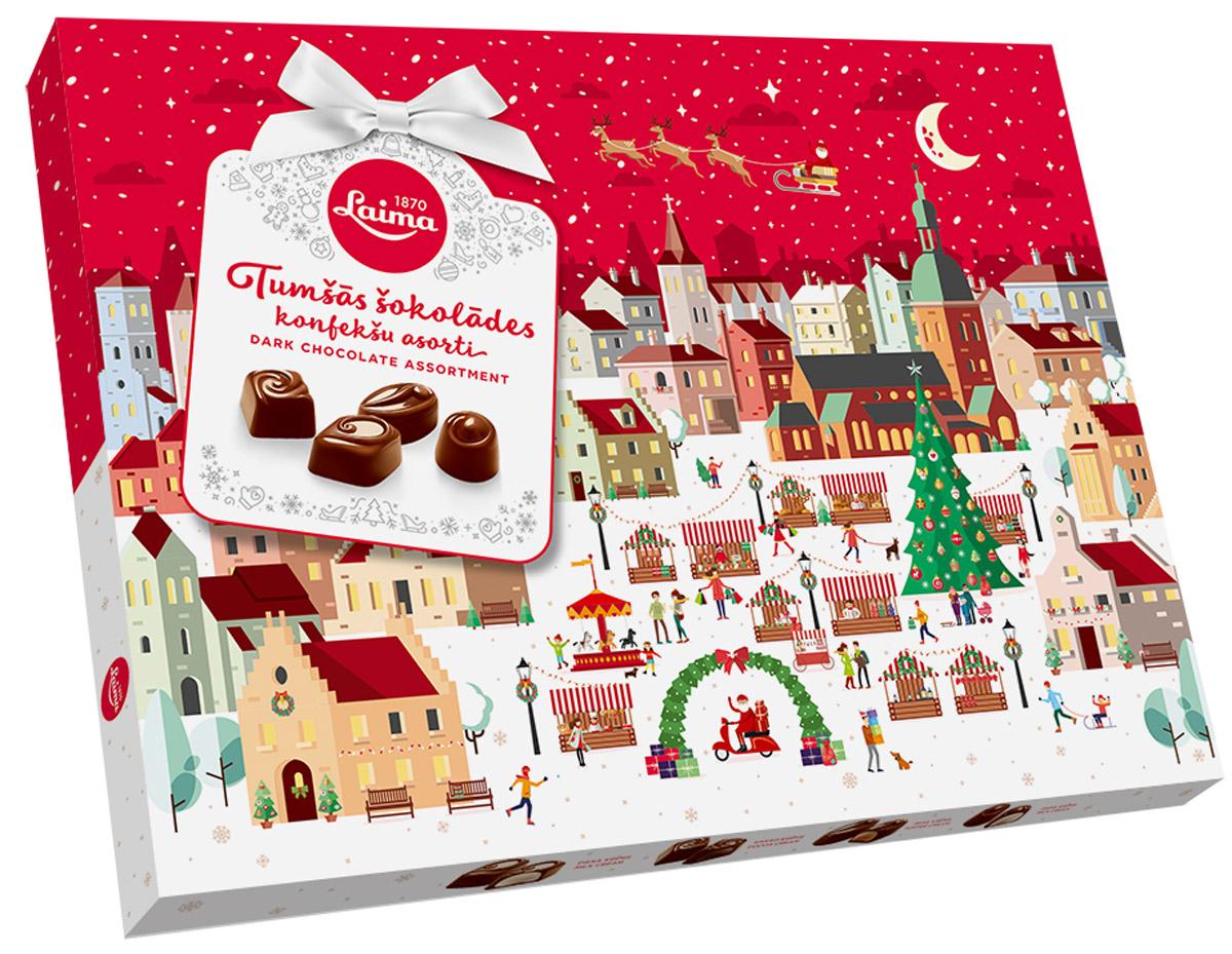 Laima Новогоднее Ассорти конфет в темном шоколаде, 720 г laima ассорти с ягодными начинками 210 г