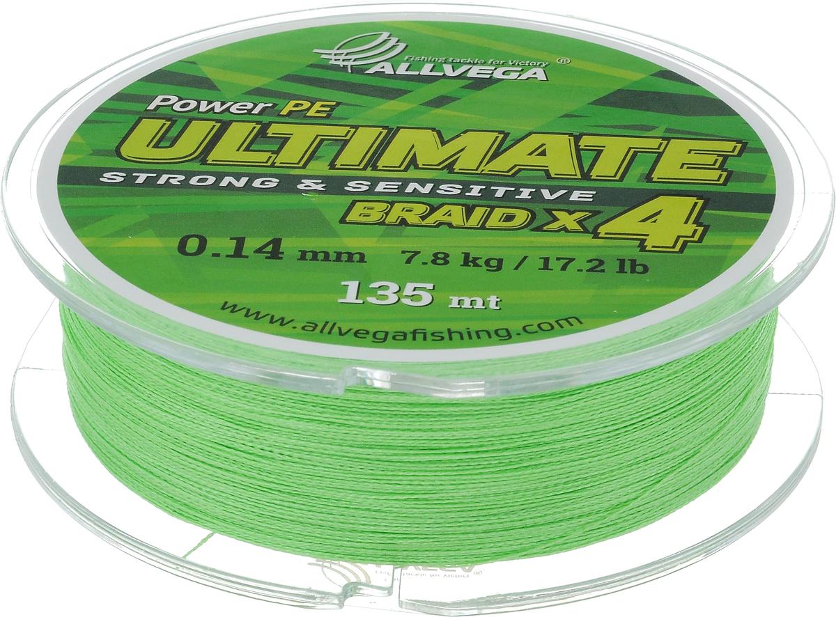 """Леска плетеная Allvega """"Ultimate"""", цвет: лаймовый, 135 м, 0,14 мм, 7,8 кг"""