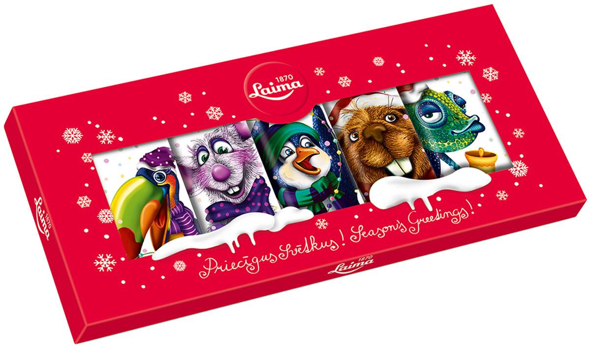 Laima Набор молочных плиток шоколада, 5 шт по 18 г0120710Набор из 5 молочных шоколадок. Каждая шоколадка имеет свой дизайн упаковки.