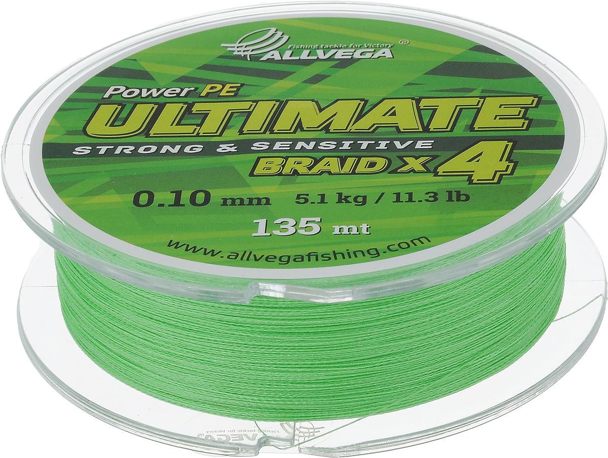 Леска плетеная Allvega Ultimate, цвет: светло-зеленый, 135 м, 0,10 мм, 5,1 кг59281Леска Allvega Ultimate с гладкой поверхностью и одинаковым сечением по всей длине обладает высокой износостойкостью. Леска изготовлена из высокотехнологичного материала (Power РЕ) методом плетения 4 прядей, покрытых специальным полимерным составом. Основными положительными качествами лески Allvega Ultimate являются: устойчивость к внешнему воздействию и максимальная чувствительность при поклевке, что обусловлено почти нулевой растяжимостью. Данные показатели крайне важны при ловле на бровках и в корягах. А круглая и гладкая поверхность лески обеспечивает ровную и плотную укладку на шпуле катушки, что позволяет делать дальний и точный заброс, делая леску универсальной для ловли любым видом спиннинга. Леску Allvega Ultimate можно применять в любых типах водоемов. Особенности:повышенная износостойкость;высокая чувствительность - коэффициент растяжения близок к нулю; идеально гладкая поверхность позволяет увеличить дальность забросов; высокая прочность шнура на узлах.