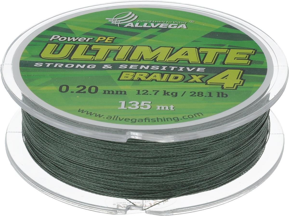 Леска плетеная Allvega Ultimate, цвет: темно-зеленый, 135 м, 0,20 мм, 12,7 кг1232717Леска Allvega Ultimate с гладкой поверхностью и одинаковым сечением по всей длине обладает высокой износостойкостью. Леска изготовлена из высокотехнологичного материала (Power РЕ) методом плетения 4 прядей, покрытых специальным полимерным составом. Основными положительными качествами лески Allvega Ultimate являются: устойчивость к внешнему воздействию и максимальная чувствительность при поклевке, что обусловлено почти нулевой растяжимостью. Данные показатели крайне важны при ловле на бровках и в корягах. А круглая и гладкая поверхность лески обеспечивает ровную и плотную укладку на шпуле катушки, что позволяет делать дальний и точный заброс, делая леску универсальной для ловли любым видом спиннинга. Леску Allvega Ultimate можно применять в любых типах водоемов. Особенности:повышенная износостойкость;высокая чувствительность - коэффициент растяжения близок к нулю; идеально гладкая поверхность позволяет увеличить дальность забросов; высокая прочность шнура на узлах.