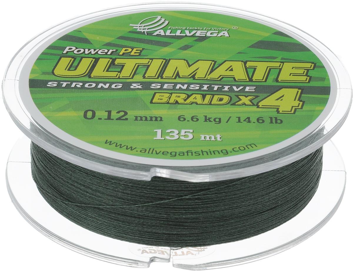 Леска плетеная Allvega Ultimate, цвет: темно-зеленый, 135 м, 0,12 мм, 6,6 кг59271Леска Allvega Ultimate с гладкой поверхностью и одинаковым сечением по всей длине обладает высокой износостойкостью. Леска изготовлена из высокотехнологичного материала (Power РЕ) методом плетения 4 прядей, покрытых специальным полимерным составом. Основными положительными качествами лески Allvega Ultimate являются: устойчивость к внешнему воздействию и максимальная чувствительность при поклевке, что обусловлено почти нулевой растяжимостью. Данные показатели крайне важны при ловле на бровках и в корягах. А круглая и гладкая поверхность лески обеспечивает ровную и плотную укладку на шпуле катушки, что позволяет делать дальний и точный заброс, делая леску универсальной для ловли любым видом спиннинга. Леску Allvega Ultimate можно применять в любых типах водоемов. Особенности:повышенная износостойкость;высокая чувствительность - коэффициент растяжения близок к нулю; идеально гладкая поверхность позволяет увеличить дальность забросов; высокая прочность шнура на узлах.