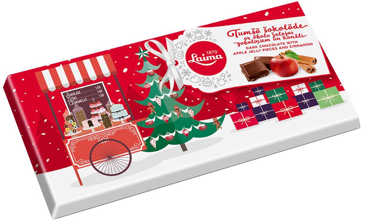 Laima Шоколад темный с кусочками яблочного желе и корицы, 100 гP120406511Настоящий темный шоколад с кусочками яблочного желе и вкусом корицы. Превосходный подарок к Рождеству и Новому Году.
