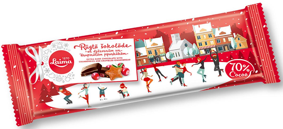Laima Шоколад горький с кусочками имбирного печенья и клюквы, 220 г0120710Горький шоколад (70% содержание какао бобов) с кусочками сушёной клюквы и имбирным печеньем.