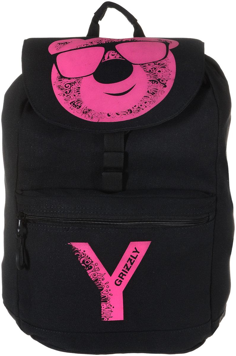 Grizzly Рюкзак цвет черный розовый RD-744-1/472523WDРюкзак Grizzly - это красивый и удобный рюкзак, который подойдет всем, кто хочет разнообразить свои будни. Рюкзак выполнен из плотного материала и декорирован принтом в виде головы медведя. Рюкзак имеет одно основное вместительное отделение, которое закрывается на шнурок-утяжку и клапан. Отделение содержит внутри открытый накладной карман и врезной карман на молнии. На лицевой стороне рюкзака расположен накладной карман на молнии. Рюкзак также оснащен текстильной ручкой для переноски или подвешивания. Широкие лямки можно регулировать по длине. Многофункциональный рюкзак станет незаменимым спутником вашего ребенка.