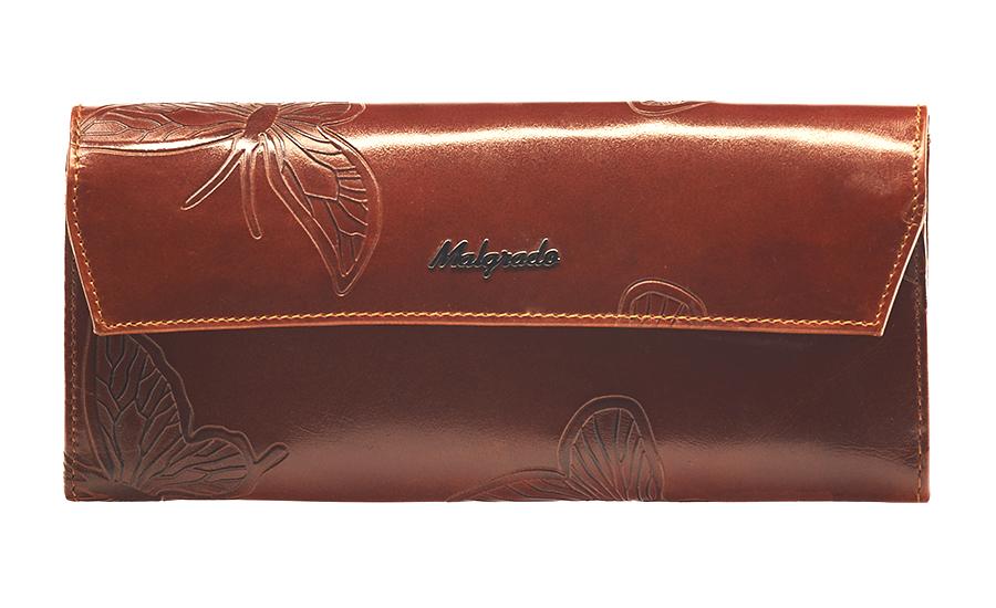 Кошелек женский Malgrado, цвет: коричневый. 75504-7002DBM8434-58AEСтильный кошелек Malgrado выполнен из лаковой натуральной кожи коричневого цвета с декоративным тиснением в виде бабочек, застегивается клапаном на кнопку. Внутри содержит два горизонтальных кармана для бумаг, девять кармашков для кредитных карт, отделение на молнии для мелочи и два отделения для купюр. На задней стороне кошелька расположен открытый кармашек. Кошелек упакован в подарочную металлическую коробку с логотипом фирмы. Такой кошелек станет замечательным подарком человеку, ценящему качественные и практичные вещи. Характеристики:Материал: натуральная кожа, текстиль, металл. Размер кошелька: 19 см х 10 см х 2 см. Цвет: коричневый.Размер упаковки: 23 см х 13 см х 4,5 см. Артикул: 75504-7002D.