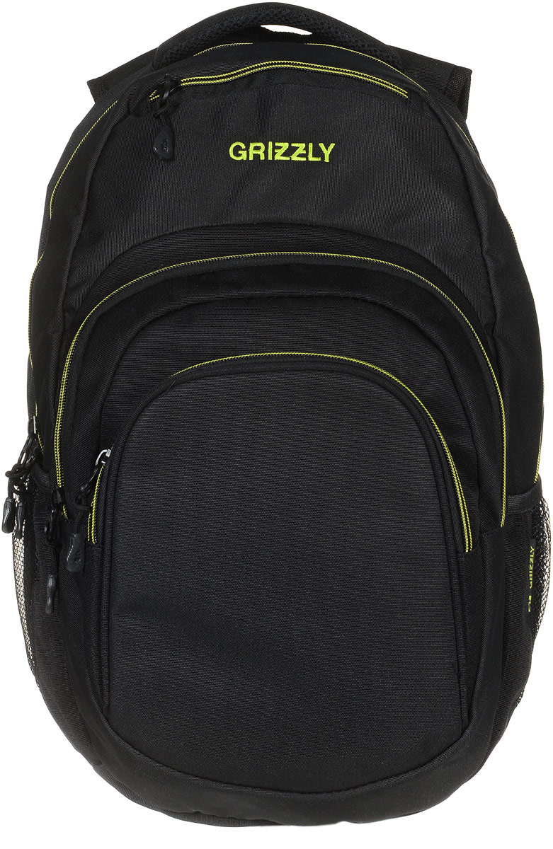 Рюкзак молодежный Grizzly, цвет: черный, салатовый, 32 л. RU-700-1/3ГризлиМолодежный рюкзак Grizzly выполнен из высококачественного таслана и закрывается на круговую застежку-молнию с двумя бегунками. Рюкзак имеет одно основное отделение, в котором расположен мягкий укрепленный карман для планшета, закрывающийся на липучку.Снаружи рюкзака расположены два объемных кармана на застежках-молниях,в одном из которых есть составной пенал-органайзер. Сверху изделие оснащено прорезным карманом на застежке-молнии, а также двумя сетчатыми открытыми карманами по бокам. Рюкзак дополнен укрепленной спинкой, анатомическими лямками, которые регулируются по длине, нагрудной стяжкой-фиксатором, мягкой укрепленной ручкой,Самовыражение - одна из базовых потребностей современного человека. Оригинальные, яркие, остромодные рюкзаки от Grizzly наилучшим образом подчеркнут вашу креативность, индивидуальность и неповторимый стиль!