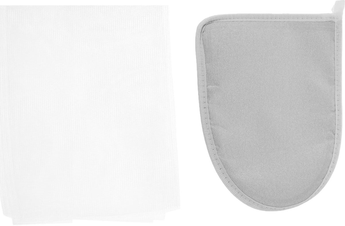Набор для глажения Eva, цвет: белый, серебристый, 2 предметаIRK-503Набор для глажения Eva состоит из варежки с тефлоном и сетки для глажения. Варежка поможет отутюжить ваши вещи в труднодоступных местах. При изготовлении варежки используется материал, не пропускающий тепло.Сетка для глажения защищает одежду от повреждений при утюжке, заменяет марлю, используется при режиме отпаривания, незаменима для оформления стрелок на брюках, препятствует образованию блестящих следов. Состав: хлопок с Al-напылением, хлопок, пенополиэтилен, полиэстер. Размер варежки: 15 х 21 см. Размер сетки: 40 х 75 см. Уважаемые клиенты! Обращаем ваше внимание на возможные изменения в расцветке материала на внутренней стороне варежки. Поставка осуществляется в зависимости от наличия на складе.