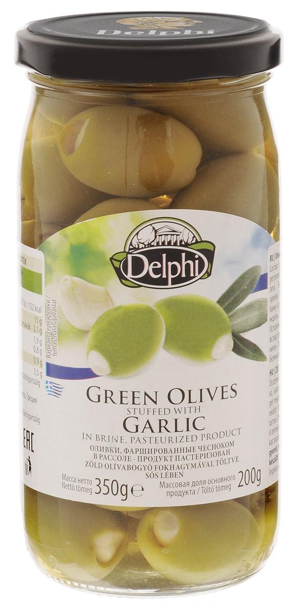 Delphi Оливки фаршированные чесноком, 350 г0120710Зеленые оливки с хрустящим чесноком в рассоле имеют пикантный оливково-чесночный вкус, аромат которого довольно сбалансирован. Чеснок остается таким же хрустящим, а оливки придают ему мягкость. Вместе они составляют удачную комбинацию и станут хорошим дополнением к напиткам, но могут пригодиться и отдельно в качестве легкой закуски.