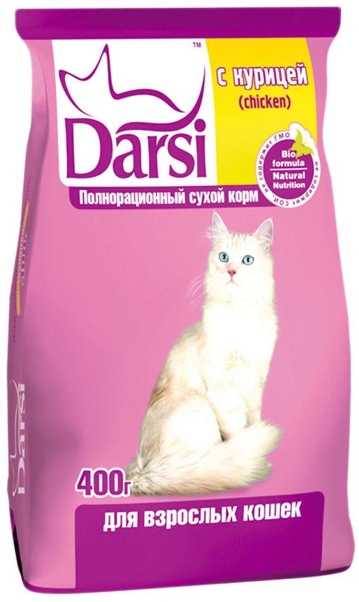 Корм сухой Darsi для кошек, с курицей, 400 г. 013941362Полнорационный сухой корм для кошек, с курицей. Состав: злаки и продукты их переработки, мясо и субпродукты животного происхождения (мин. 4% птицы), рыба и продукты из рыбы, масла и жиры, витамины и минеральные вещества. Пищевая ценность: протеин - 30,0%, жир - 10,0 %, зола - 9,0%, клетчатка - 3,0%, влажность не более 10,0%, кальций -19,0 г/кг, фосфор - 13,0 г/кг, медь - 10 мг/кг, витамин А - 24 000 МЕ/кг, витамин D3 - 2 000 МЕ/кг, витамин Е - 110 мг/кг. Энергетическая ценность на 100 г: 327 ккал