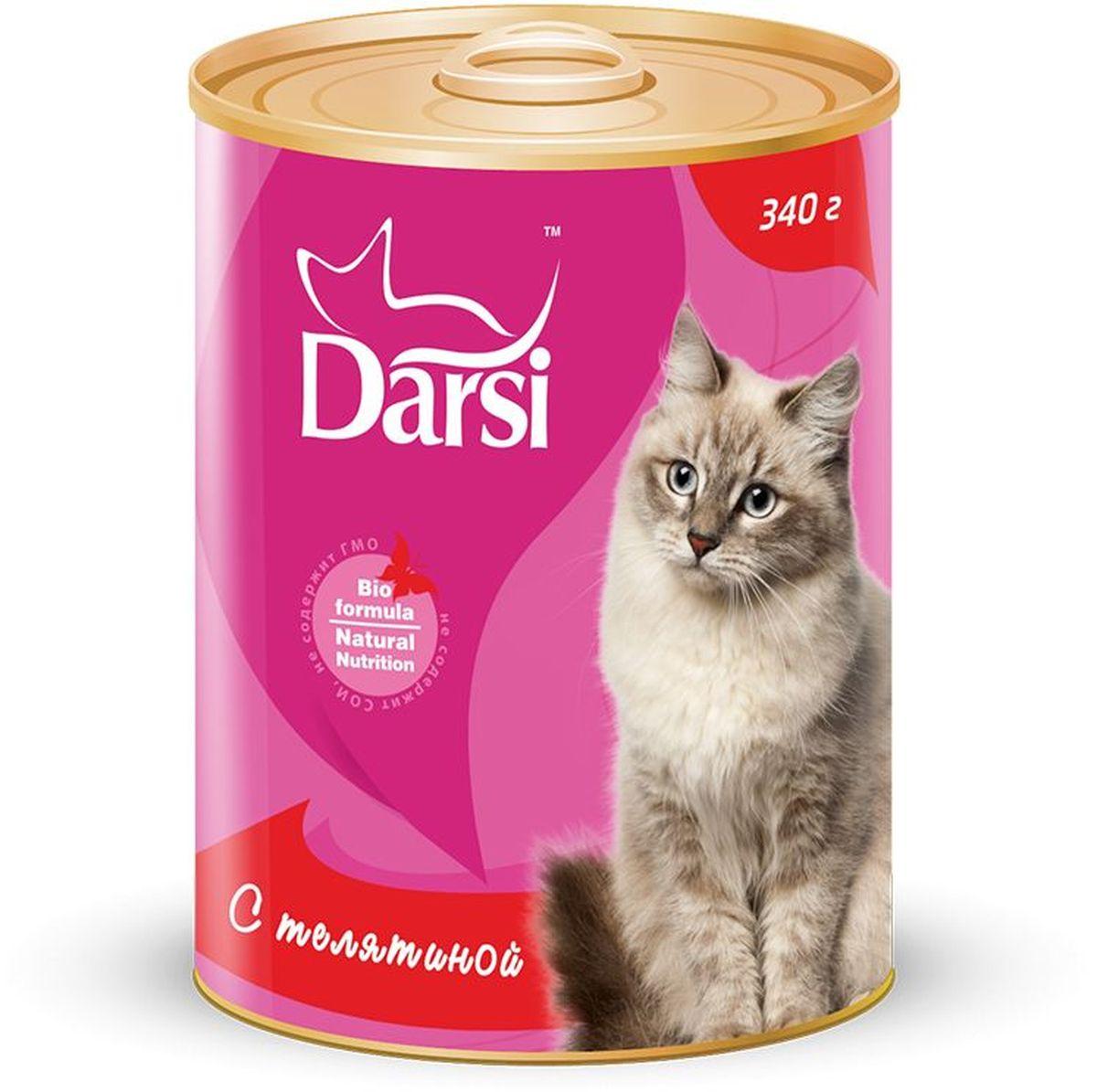 Консервы для кошек Darsi, с телятиной, 340 г. 92420120710Полнорационный консервированный корм для кошек в виде фарша.