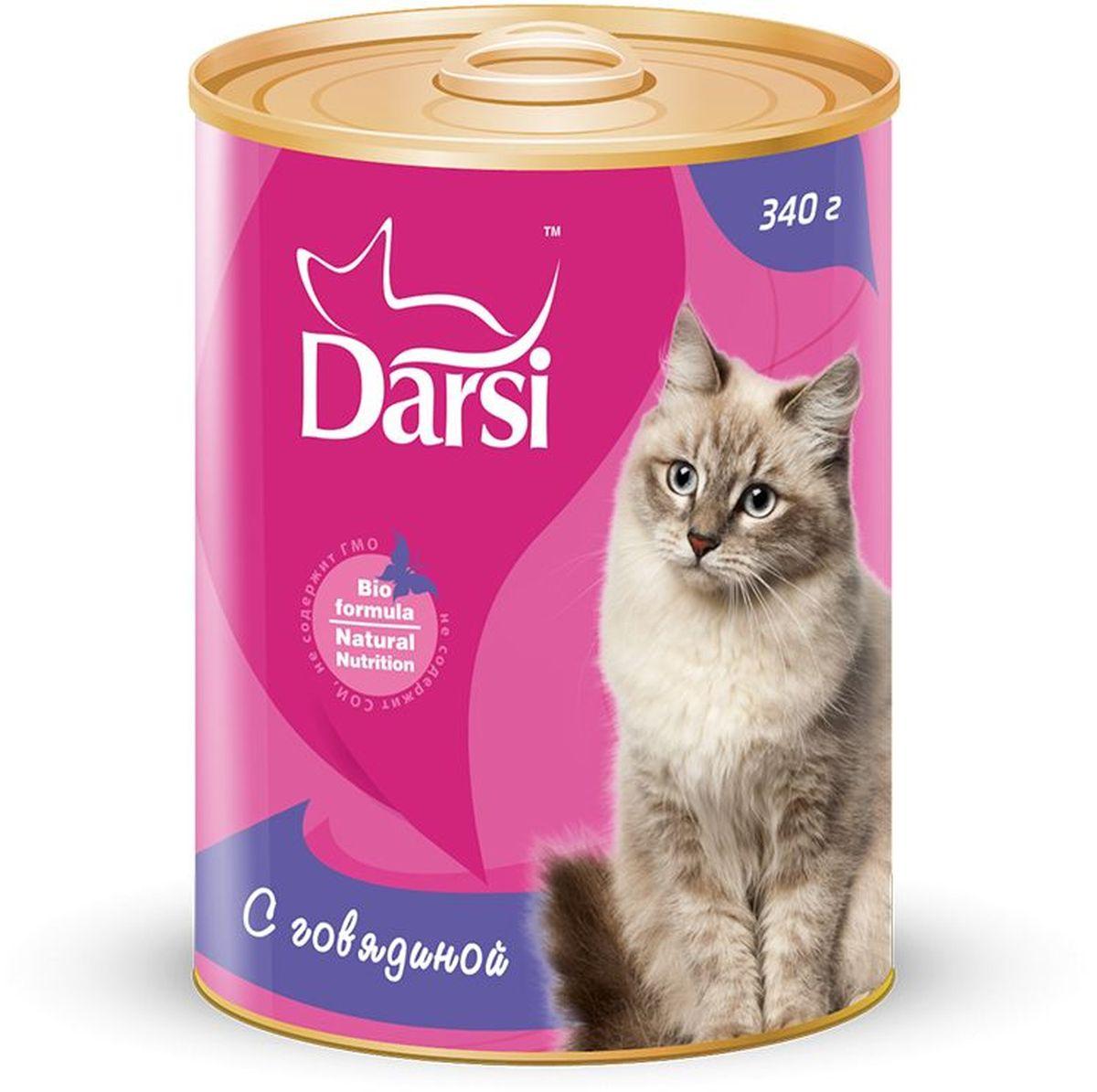 Консервы для кошек Darsi, с говядиной, 340 г. 92660806Полнорационный консервированный корм для кошек в виде фарша.