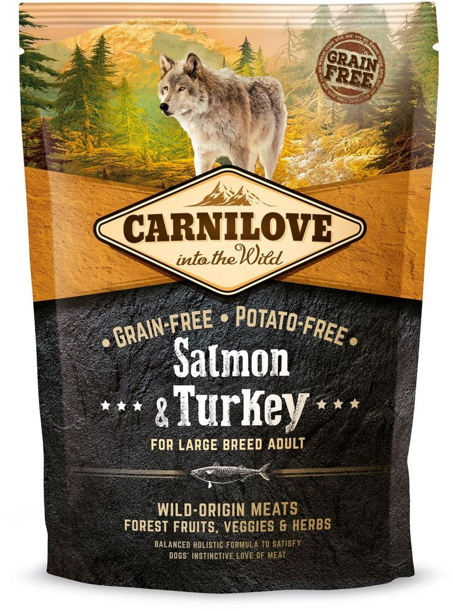 Корм сухой Carnilove, для собак крупных пород, беззерновой, с лососем, 1,5 кг0120710Сбалансированный полнорационный сухой беззерновой корм для взрослых собак всех пород. Cостав: мука из лосося (25%), филе лосося (20%), желтый горох (20%), мука из сельди (10%), куриный жир (консервирован токоферолами, 9%), куриная печень (3%), яблоки (3%), крахмал из тапиоки (3%), рыбий жир лососевый (3%), морковь (1%), льняное семя (1%), нут (1%), гидролизованные панцири ракообразных (источник глюкозамина, 0,026%), экстракт хряща (источник хондроитина, 0,016%), пивные дрожжи (источник маннан-олигосахаридов, 0,015%), корень цикория (источник фрукто-олигосахаридов, 0,01%), юкка шидигера (0,01%), водоросли (0,01%), псиллиум (0,01%), тимьян (0,01%), розмарин (0,01%), орегано (0,01%), клюква (0,0008%), голубика (0,0008%), малина (0,0008%).