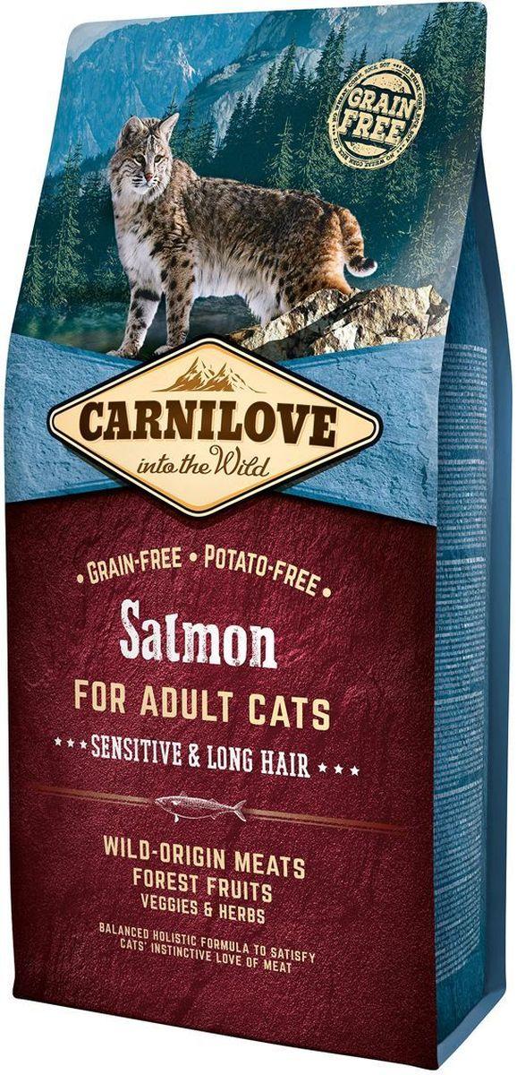 Корм сухой Carnilove, для кошек, беззерновой, с лососем, 6 кг0120710Полнорационный беззерновой корм Carnilove с лососем для взрослых кошек – чувствительность и длинная шерсть формула без злаков и картофеля для взрослых кошек с чувствительным пищеварением и длинношерстных кошекСостав: мука из лосося (30%), желтый горох (17%), филе лосося (16%), мука из сельди (14%), куриный жир (консервирован токоферолами, 9%), куриная печень (3%), рыбий жир лососевых рыб (3%), крахмал из тапиоки (2%), яблоки (2%), морковь (1%), льняное семя (1%), нут (1%), гидролизованные раковины ракообразных (источник глюкозамина, 0.026%), экстракт хряща (источник хондроитина, 0.016%), пивные дрожжи (источник маннанолигосахаридов, 0.016%), корень цикория (источник фруктоолигосахаридов, 0.012%), юкка шидигера (0.01%), водоросли (0.01%), подорожник (0.01%), тимьян (0.01%), розмарин (0.01%), орегано (0.01%), клюква (0.0008%), голубика (0.0008%), малина (0.0008%).