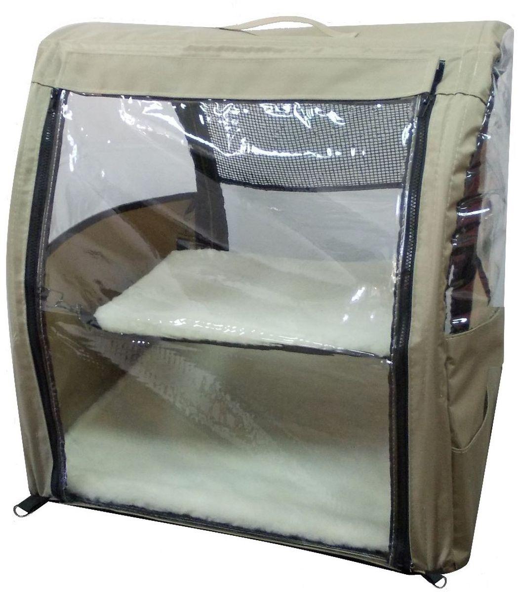 Клетка-палатка для животных  Заря-Плюс , выставочная, с чехлом, цвет: бежевый, 51 х 58 х 55 см