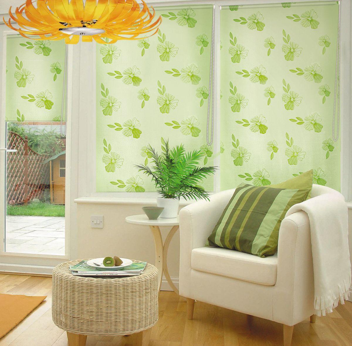 Штора рулонная Эскар Миниролло. Эдельвейс, фактурная, цвет: зеленый, ширина 98 см, высота 160 см