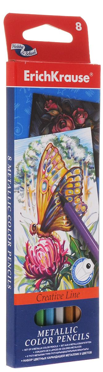 Erich Krause Набор цветных карандашей Metallic 8 цветовC13S041944Набор цветных карандашей Erich Krause Metallic подойдет любому юному художнику. Карандаши легко и аккуратно затачиваются и имеют яркие насыщенные цвета. Мягкий грифель легко рисует на бумаге и не царапает ее. В наборе 8 цветных карандашей, изготовленных из натурального дерева, с диаметром грифеля 3 мм. Яркий и практичный набор Erich Krause Metallic с продуманной палитрой цветов непременно понравится вашему юному художнику.Не рекомендуется детям до 3-х лет.