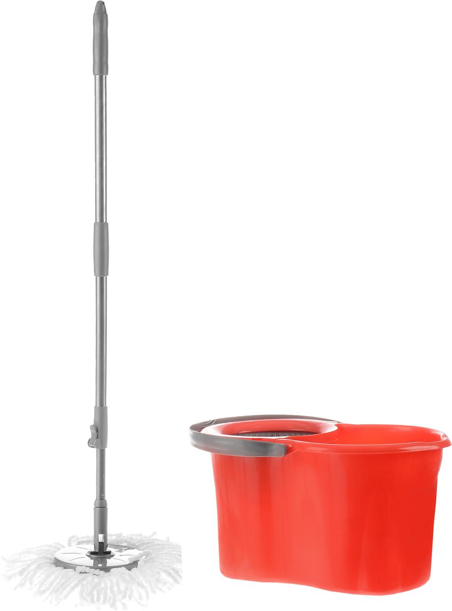 Набор для уборки Magnolia Home: ведро с отжимом, швабра, цвет: серый, красный13007_зеленыйНабор для уборки Magnolia Home состоит из ведра с отжимом и швабры Мастер Моп. Моп изготовлен из специального материала, который отличается хорошей впитывающей способностью и прочностью. Полоски превосходно впитывают воду и грязь, идеальны для мытья пола из керамической плитки и пола с деревянным покрытием. Благодаря специальной поглощающей структуре швабра не оставит разводов и обеспечит превосходную чистоту. Изделие легко промывается в воде. Рукоятка изготовлена из металла с пластиковыми вставками. Снабжена отверстием для подвеса. Имеет стандартную резьбу, подходящую к большинству видов насадок. Ведро изготовлено из прочного пластика. Изделие имеет специальный носик, позволяющий удобно выливать жидкость. Для переноски предусмотрена прочная ручка. Яркий красивый многофункциональный набор для уборки дома. Длина полосок швабры: 12 см. Длина рукоятки: 110 см. Объем ведра: 19 л. Размер ведра: 48 см х 29 см х 26 см.