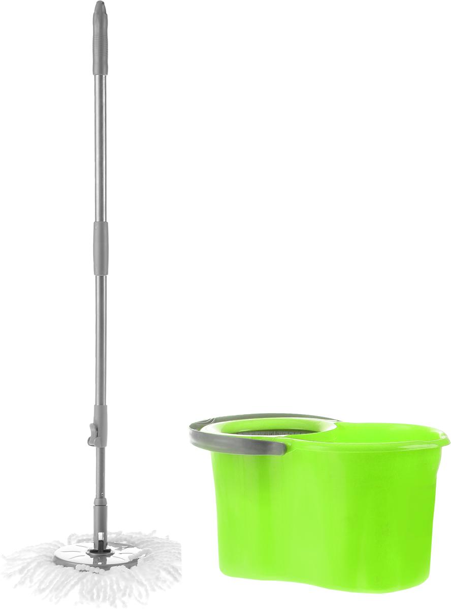 Набор для уборки Magnolia Home: ведро с отжимом, швабра, цвет: серый, зеленыйNN-604-LS-BUНабор для уборки Magnolia Home состоит из ведра с отжимом и швабры Мастер Моп. Моп изготовлен из специального материала, который отличается хорошей впитывающей способностью и прочностью. Полоски превосходно впитывают воду и грязь, идеальны для мытья пола из керамической плитки и пола с деревянным покрытием. Благодаря специальной поглощающей структуре швабра не оставит разводов и обеспечит превосходную чистоту. Изделие легко промывается в воде. Рукоятка изготовлена из металла с пластиковыми вставками. Снабжена отверстием для подвеса. Имеет стандартную резьбу, подходящую к большинству видов насадок. Ведро изготовлено из прочного пластика. Изделие имеет специальный носик, позволяющий удобно выливать жидкость. Для переноски предусмотрена прочная ручка. Яркий красивый многофункциональный набор для уборки дома. Длина полосок швабры: 12 см. Длина рукоятки: 110 см. Объем ведра: 19 л. Размер ведра: 48 см х 29 см х 26 см.