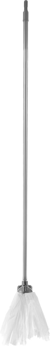 Швабра Home Queen, цвет: серый, белый, длина 119 см57186Швабра Home Queen, выполненная из полиэстера, вискозы, полипропилена и металла, идеально подходит для мытья всех типов напольных поверхностей: паркет, ламинат, линолеум, кафельная плитка. Материал насадки - полиэстер с вискозой обладает высокой износостойкостью, не царапает поверхности и отлично впитывает влагу. Насадку можно стирать вручную с мягким моющим средством без использования кондиционера и отбеливателя, при температуре 30°-40°С без кипячения.Длина ручки: 119 см.Длина насадки: 23 см.