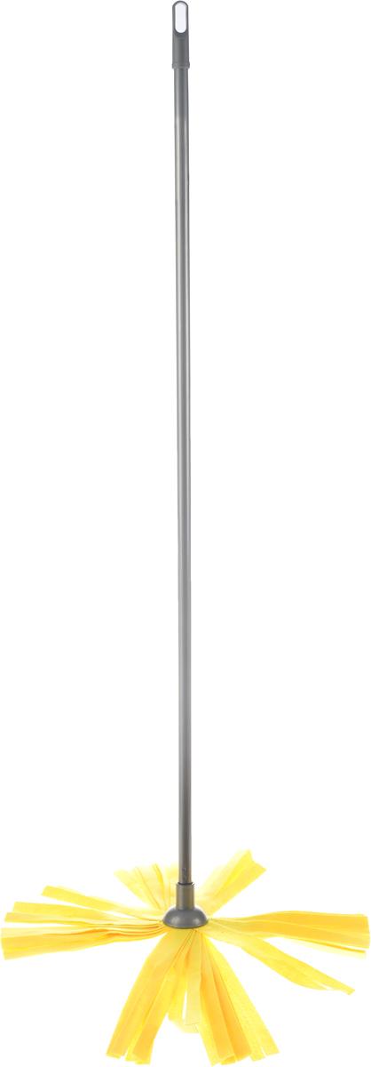 Швабра Home Queen, цвет: серый, желтый, длина 119 см мочалка из нейлона home queen цвет желтый 57199