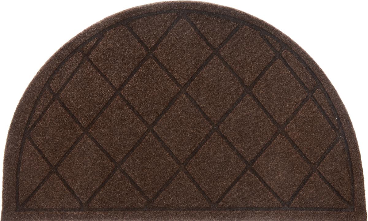 Коврик придверный EFCO Оскар. Ромбы, цвет: коричневый, 65 х 40 см