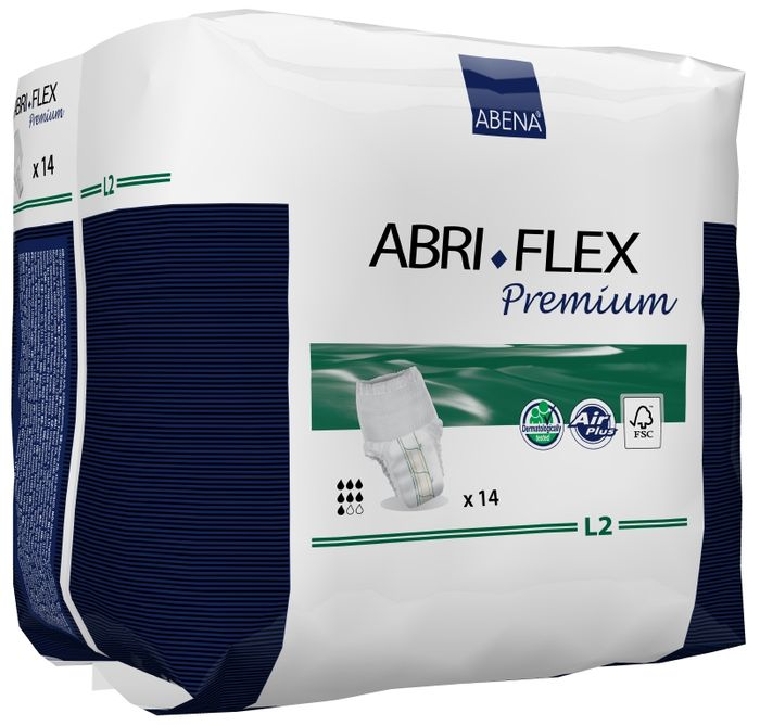 Abena Подгузники для взрослых Abri-Flex L2 дневные+ 14 шт 4108741087Подгузники-трусики Abri-FlexL2 - продукты серии Abri-Flex могут использоваться в качестве нижнего белья, обеспечивая свободу движения. Abri-Flex удерживается на бедрах за счет увеличенного количества эластичных нитей по сравнению с другими аналогичными продуктами. Подгузники-трусики Abri-Flex Zero подходят для легкой степени недержания, имеют высокий профиль и полностью белый наружный слой. Подгузники-шортики Abri-Flex Special обладает уникальной эластичностью, которая обеспечивает точную посадку в области ног и паха, и является идеальным решением для физически активных людей, а также для тех, кому не подходят традиционные трусики pull-up.Преимущества подгузников для взрослых Abri- Flex:- мягкий пояс надежно и деликатно удерживает подгузник на месте,- превращают жидкость в гель, запирая запах изнутри,- имеют цветной сегментированный индикатор намокания,- гарантируют сухость за счет инновационной технологии быстрого впитывания слоя 3D DualCore,- сделаны из гипоаллергенных экологически чистых материалов,- впитываемость: более 1900 млAbena постоянно инвестирует в новые технологии. В 2014 году мы установили оборудование, которое позволяет нам производить подгузник Abri-Flex нового поколения с запатентованной воздухопроницаемостью. Теперь дышащей является вся поверхность подгузника, а не только его рабочая зона.Новый Abri-Flex имеет слой 3D DualCore, который обеспечивает максимальную степень влагопоглощения именно там, где это необходимо. Также подгузник оснащен новой улучшенной системой TopDry, которая обеспечивает сухость, и благодаря которой подгузник идеально прилегает к телу.На данный момент Abena - единственный производитель, который использует данную уникальную технологию.