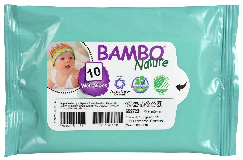 Bambo Nature Влажные салфетки детские без отдушек 10 шт 659723